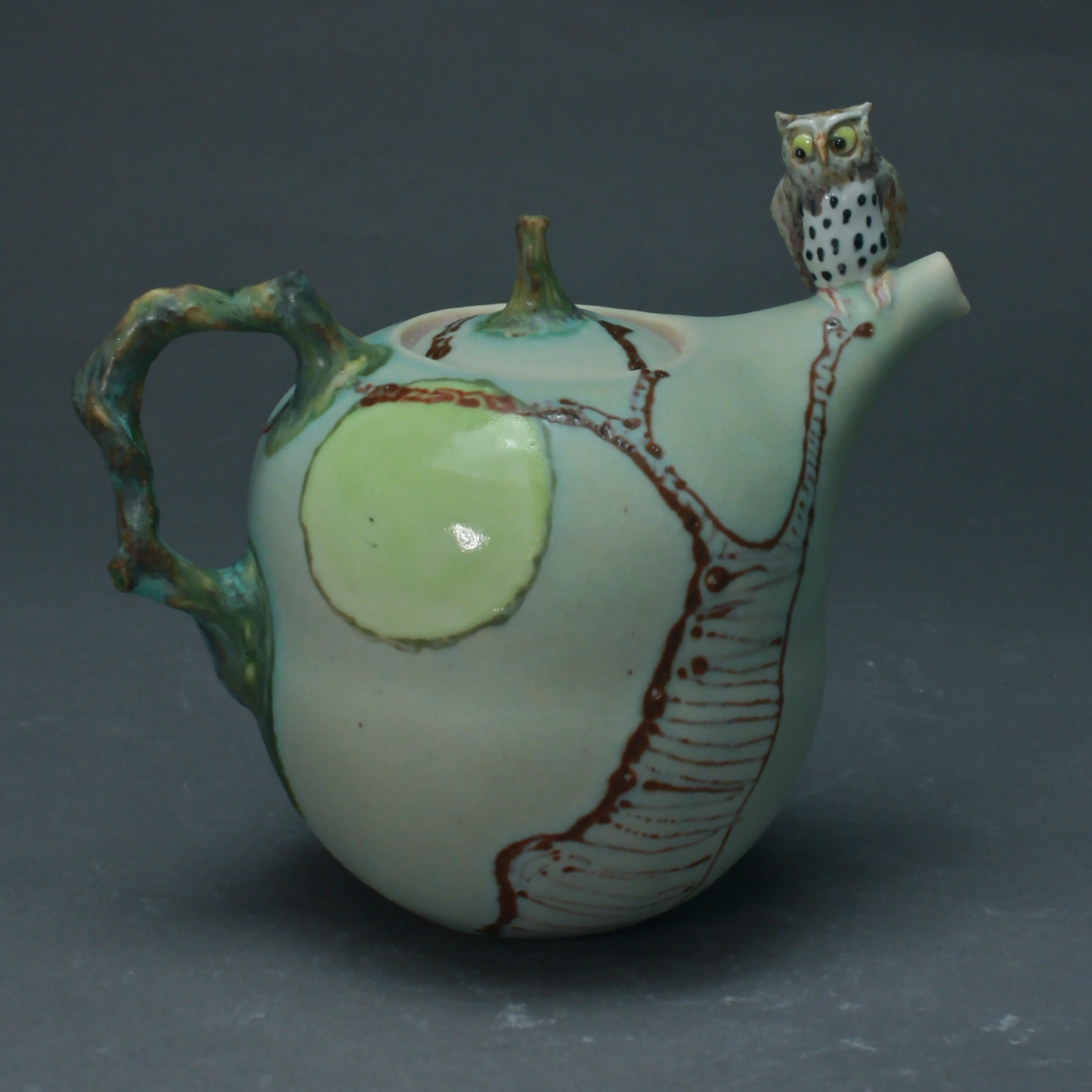 T-22  | Full Moon Celadon Teapot with Owl ($295)