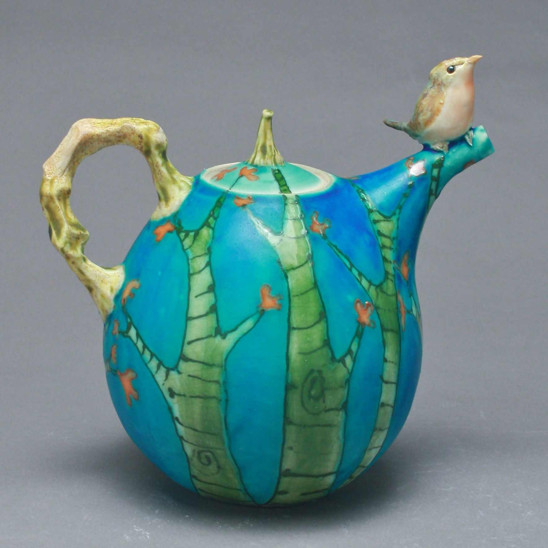 T-23  | Green Trees Blue Teapot with Robin ($295)