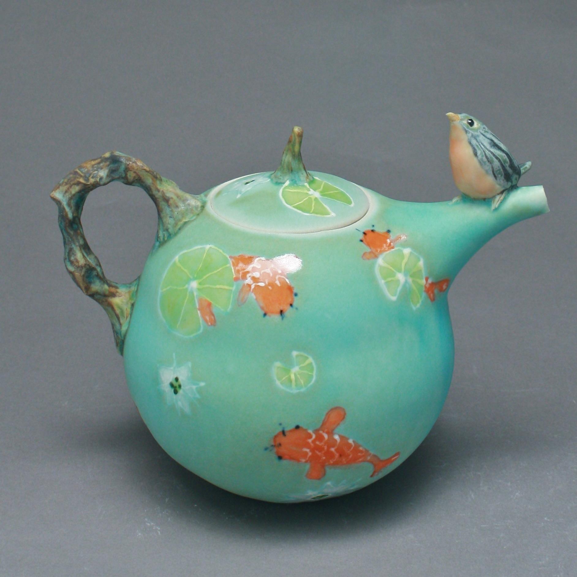 T-24  | Koi Pond Teapot with Bluebird ($295)