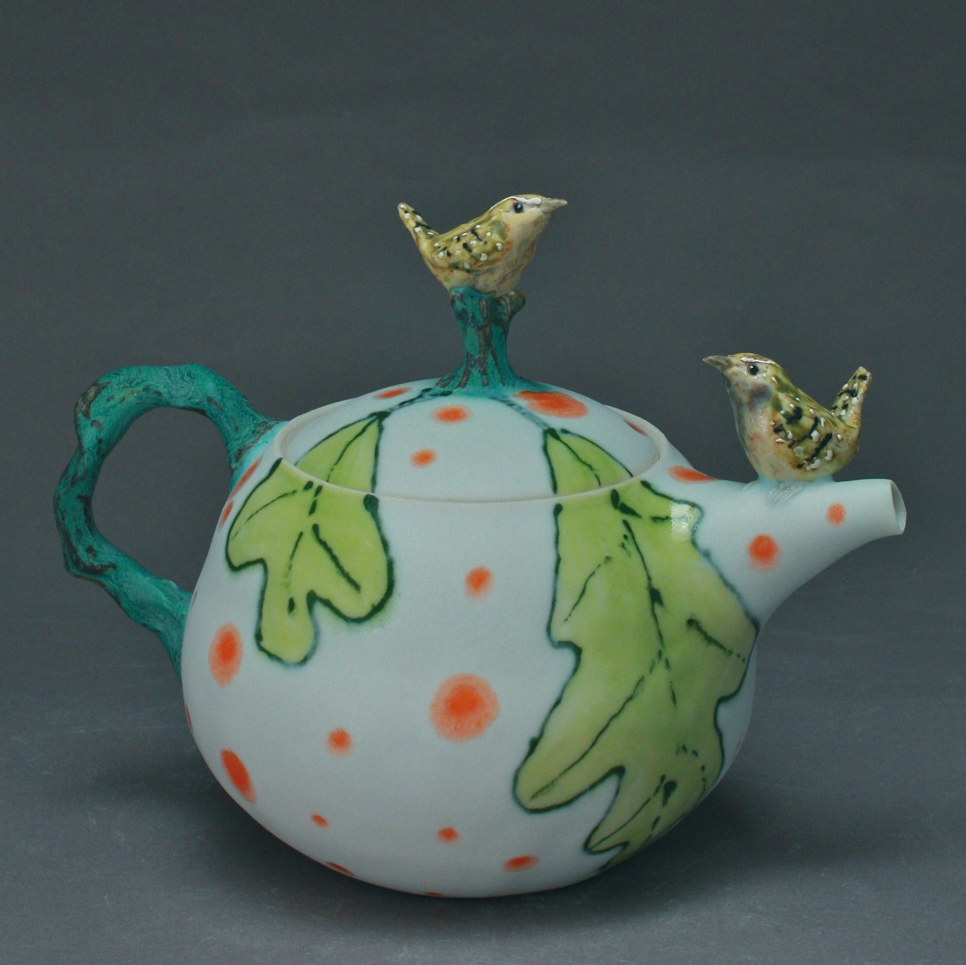 2BT-01  | Green Leaves White Teapot with Wrens ($325)