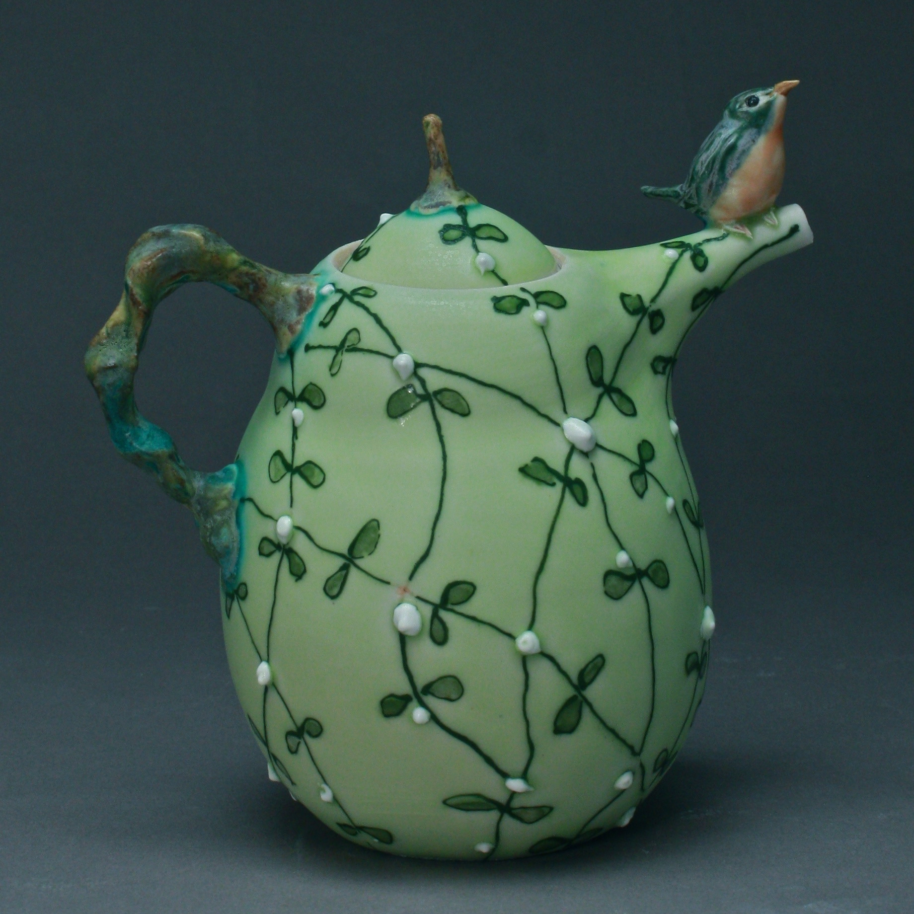 T-29  | Pale Green  Flowering Vines Teapot with Bluebird ($295)