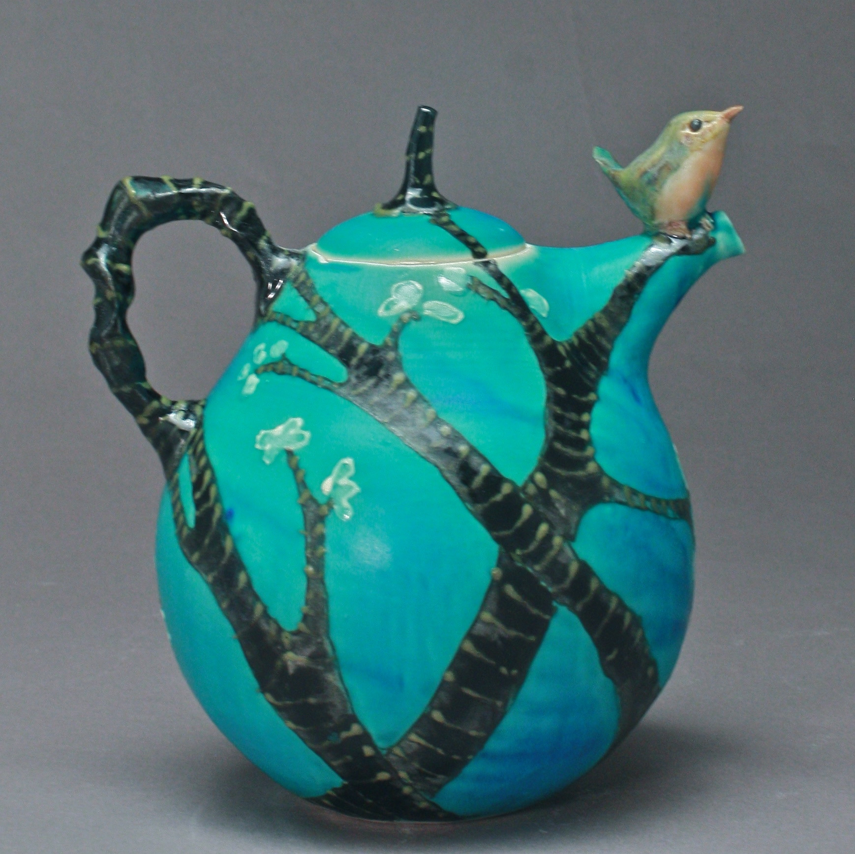 T-28  | Spring Trees Turquoise  Teapot with Robin ($295)