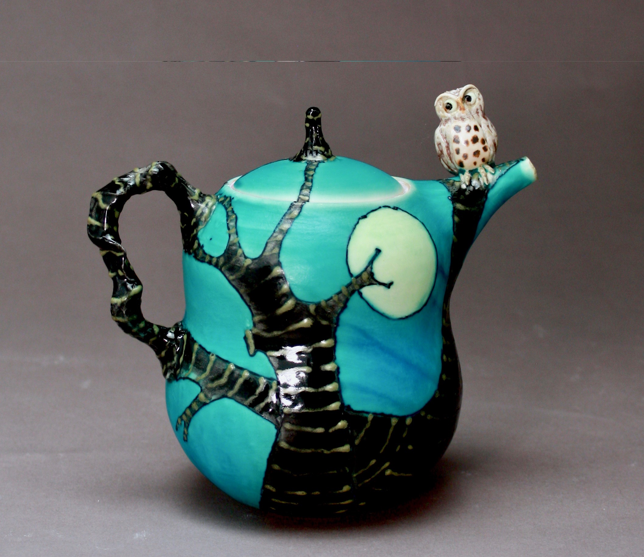T-30  | Full Moon Turquoise Teapot with Owl ($295)