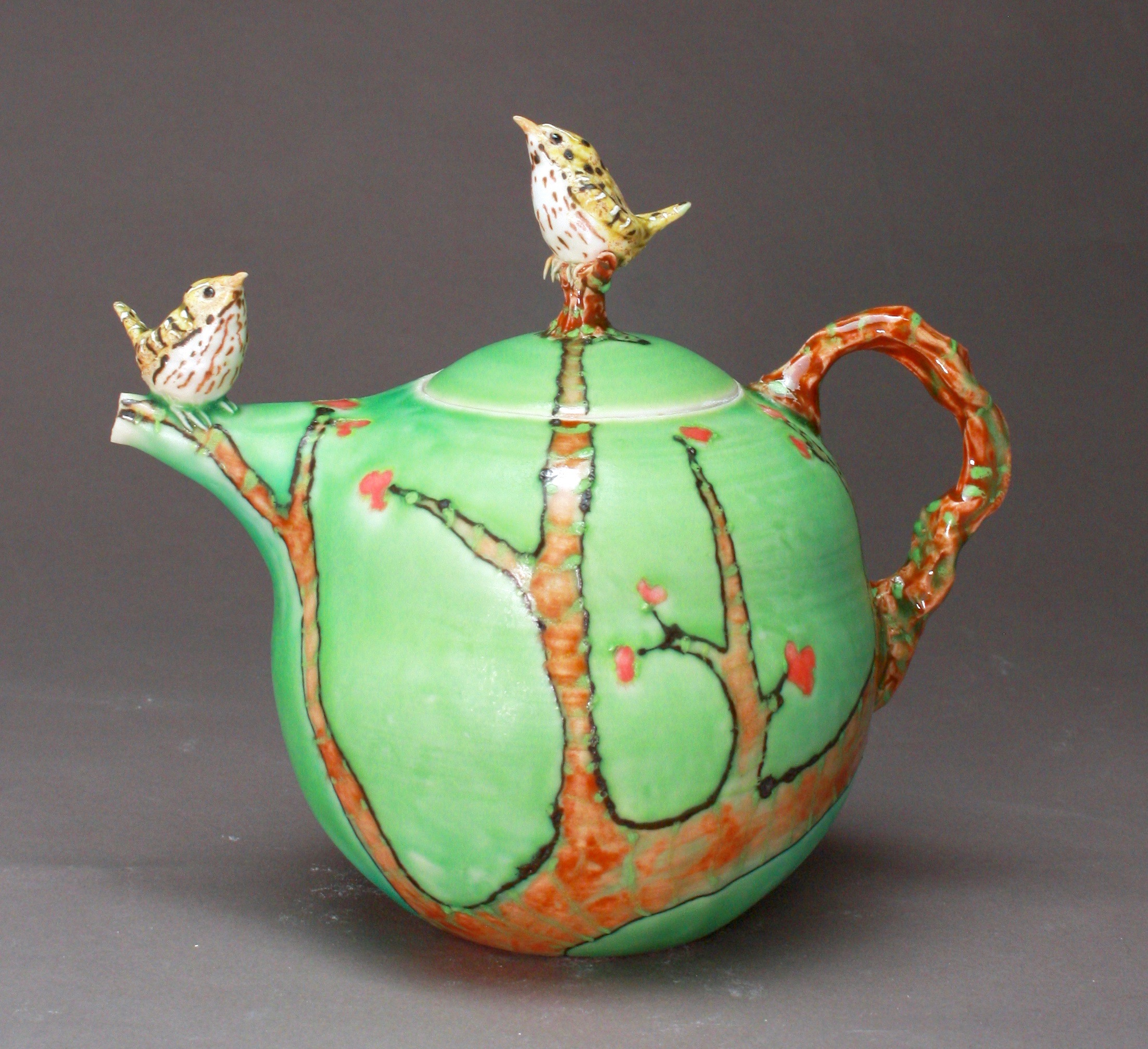 2BT-04  | Autumn Branch Green Teapot with Waterthrushes ($325)