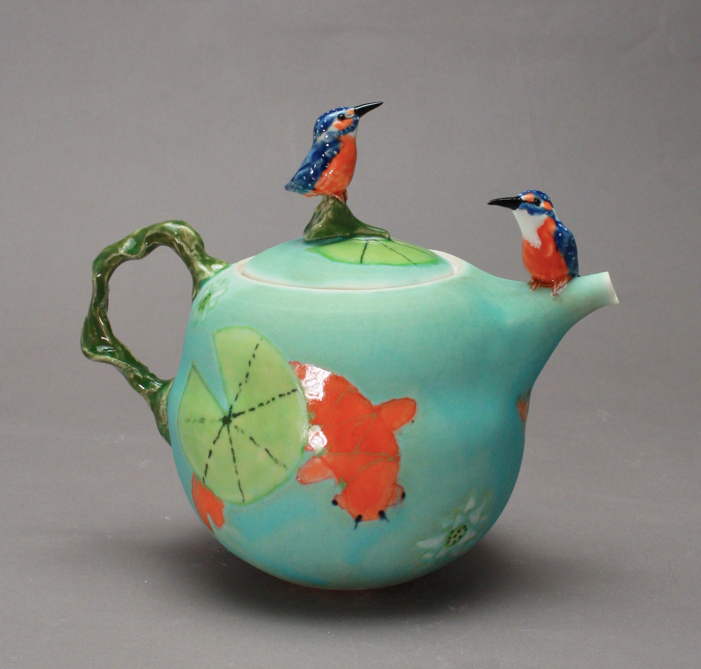 2BT- 06  | Koi Pond Teapot with Pygmy Kingfishers ($325)
