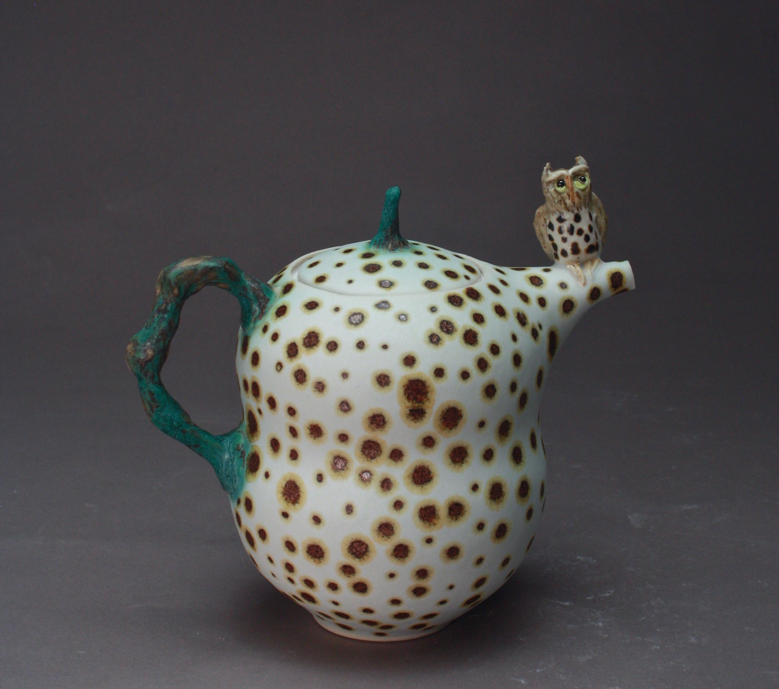 T-32  | Bronze Spotted White  Teapot with Owl ($295)