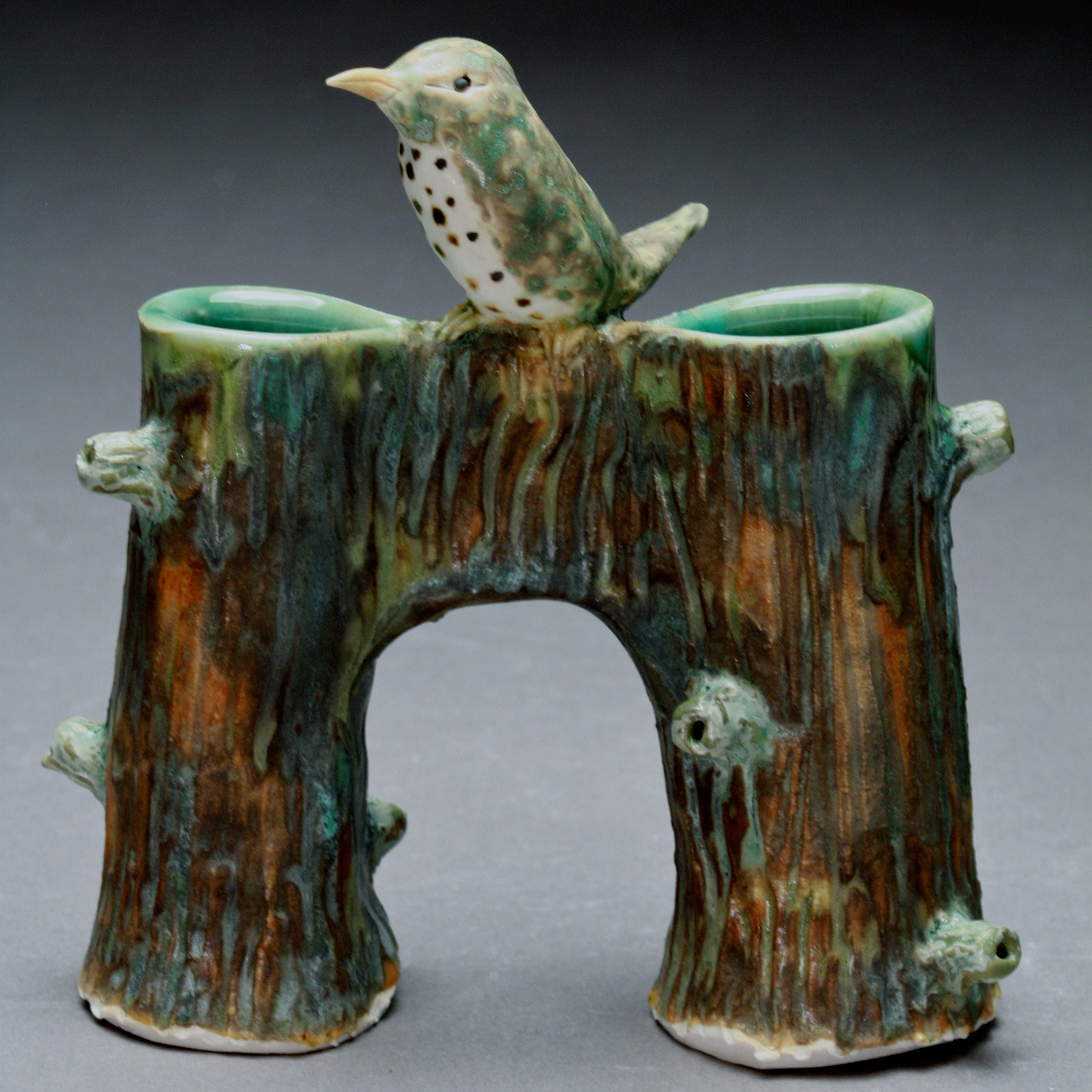 V-15 |  Bridge Vase with Waterthrush ($185)