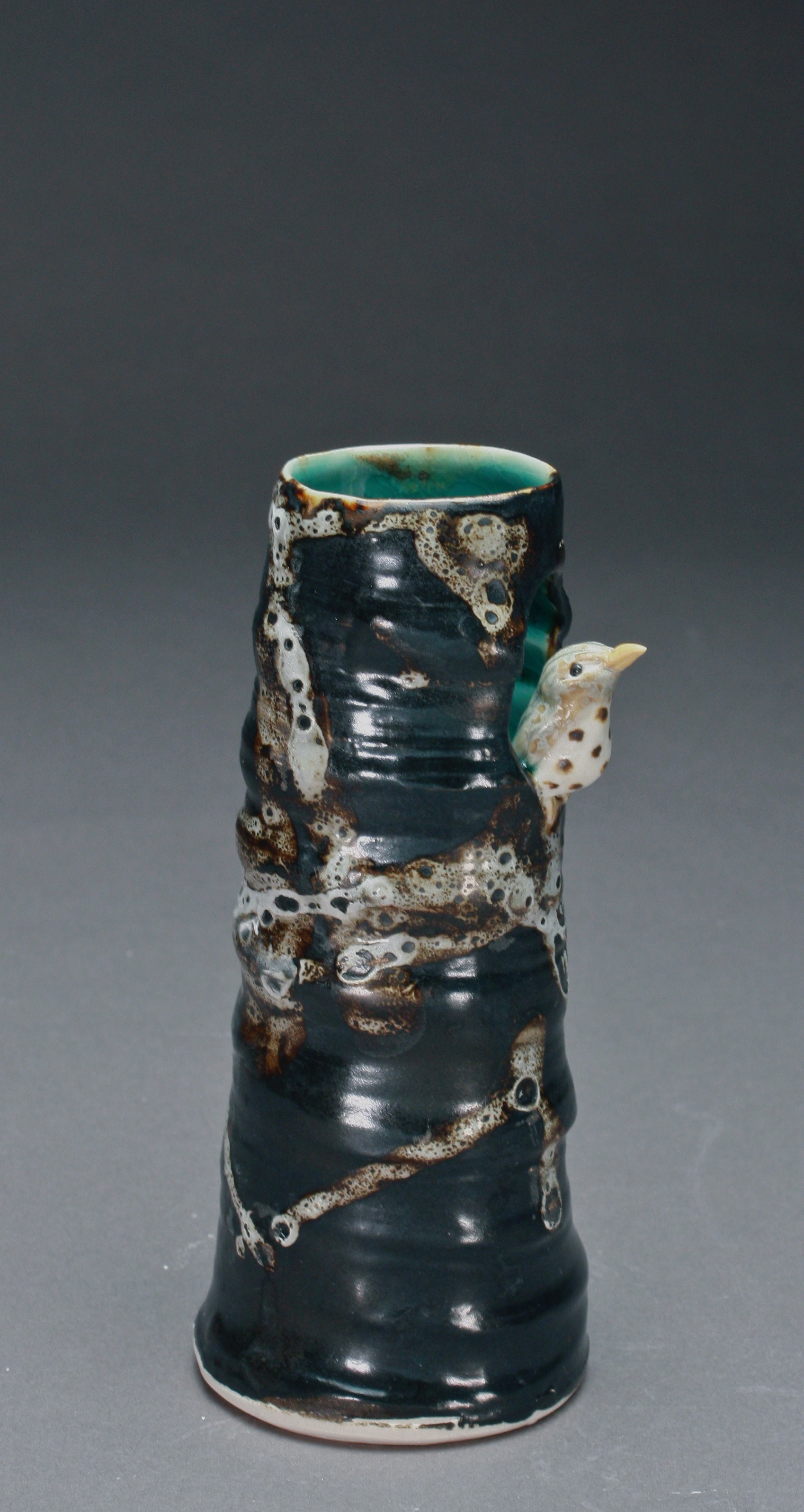 V-04 |  Lichen Tree Vase with Thrush ($85)