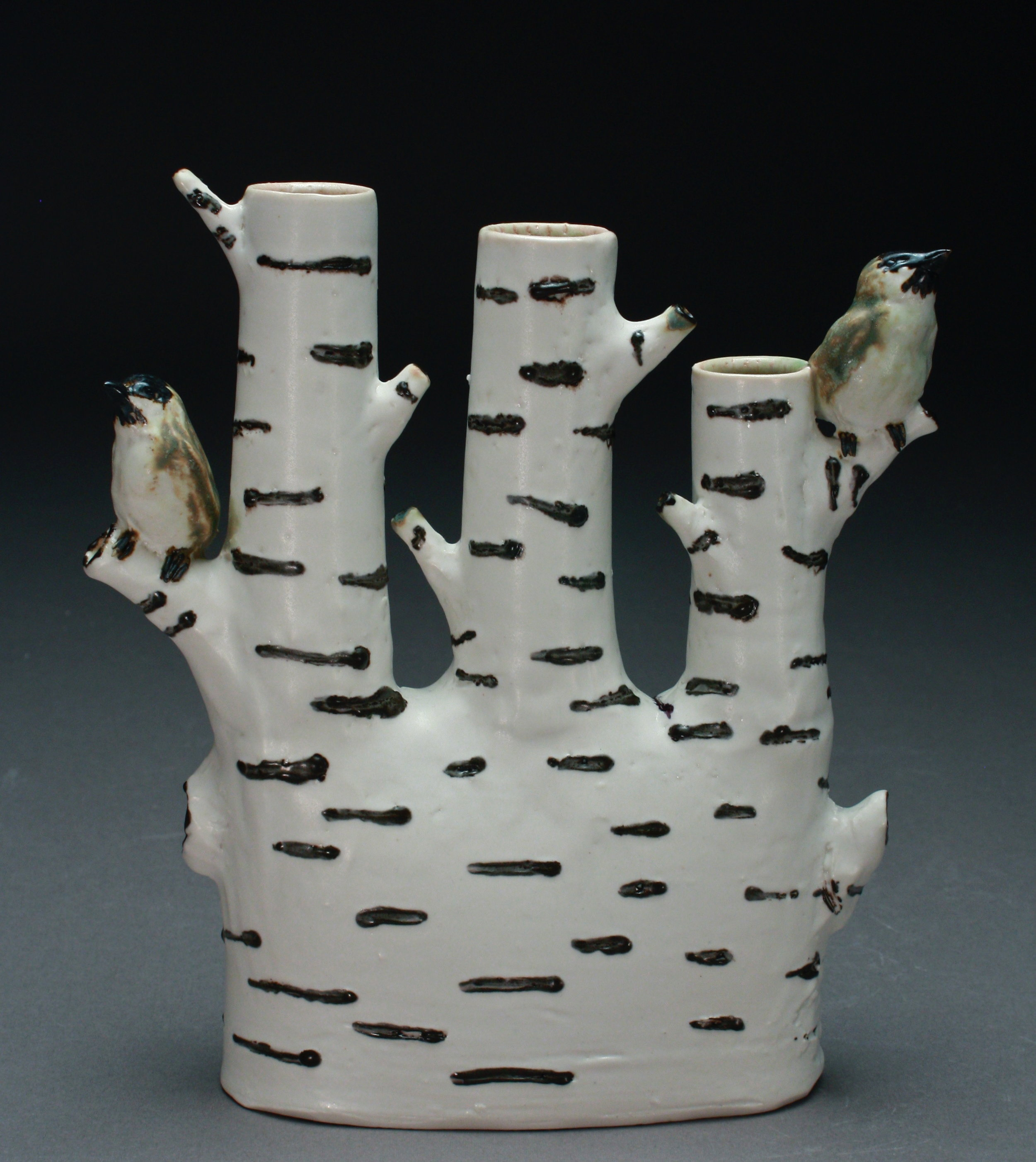V-38 |  Birch Tree  Triple Bud Vase with Chickadees ($325)