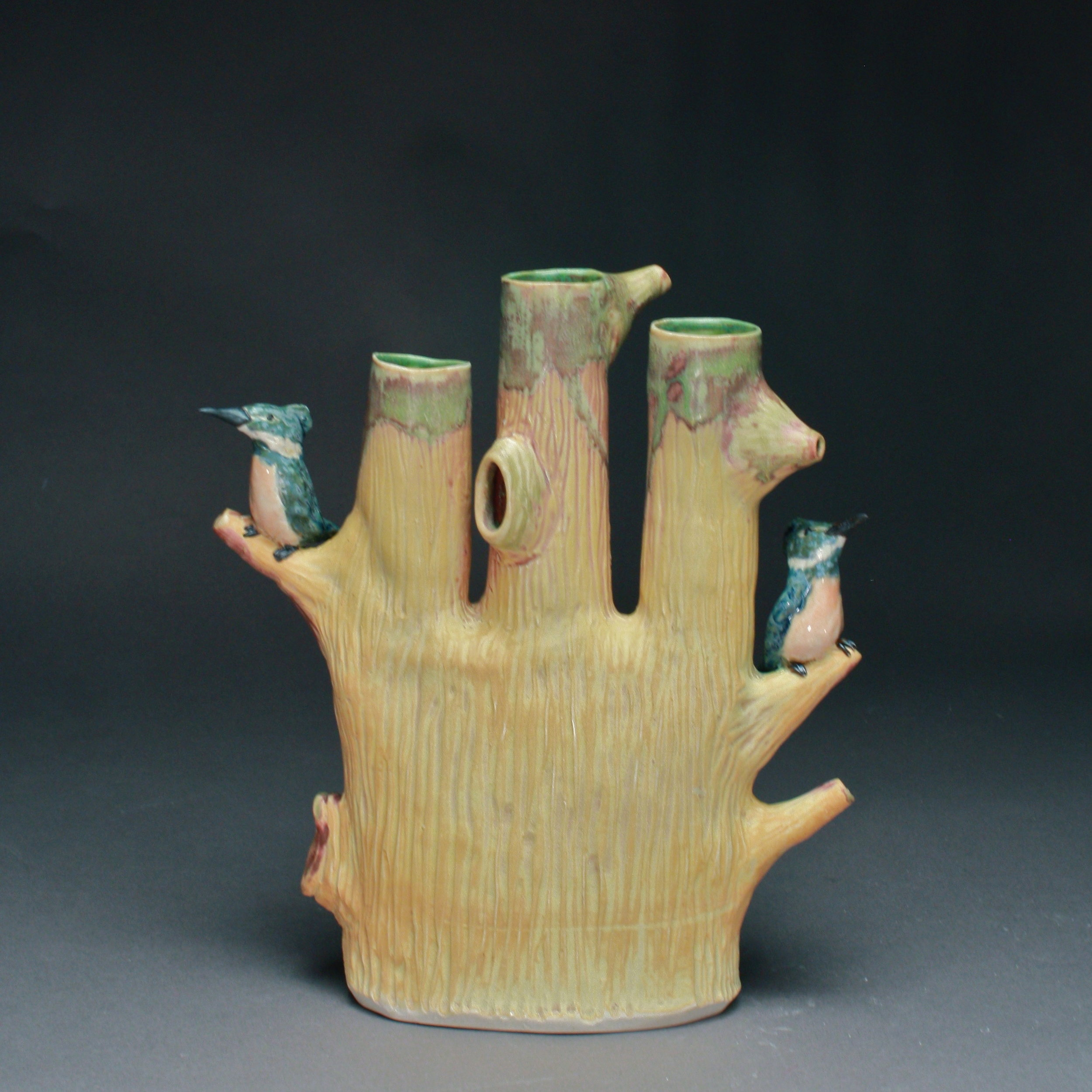 V-39 |  Ochre Triple Bud Vase with Blue Kingfishers ($325)