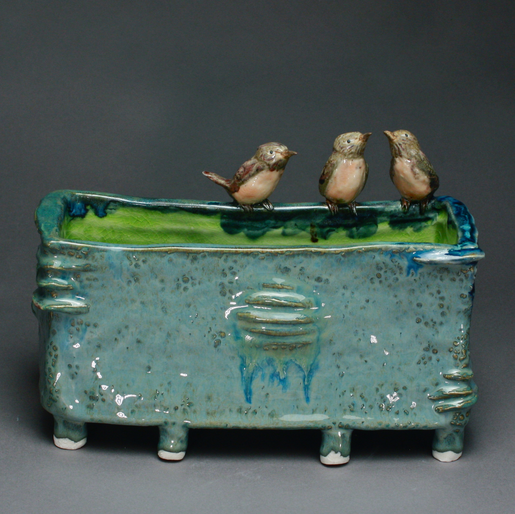 V-44 |   Footed Basin with Robins ($350)