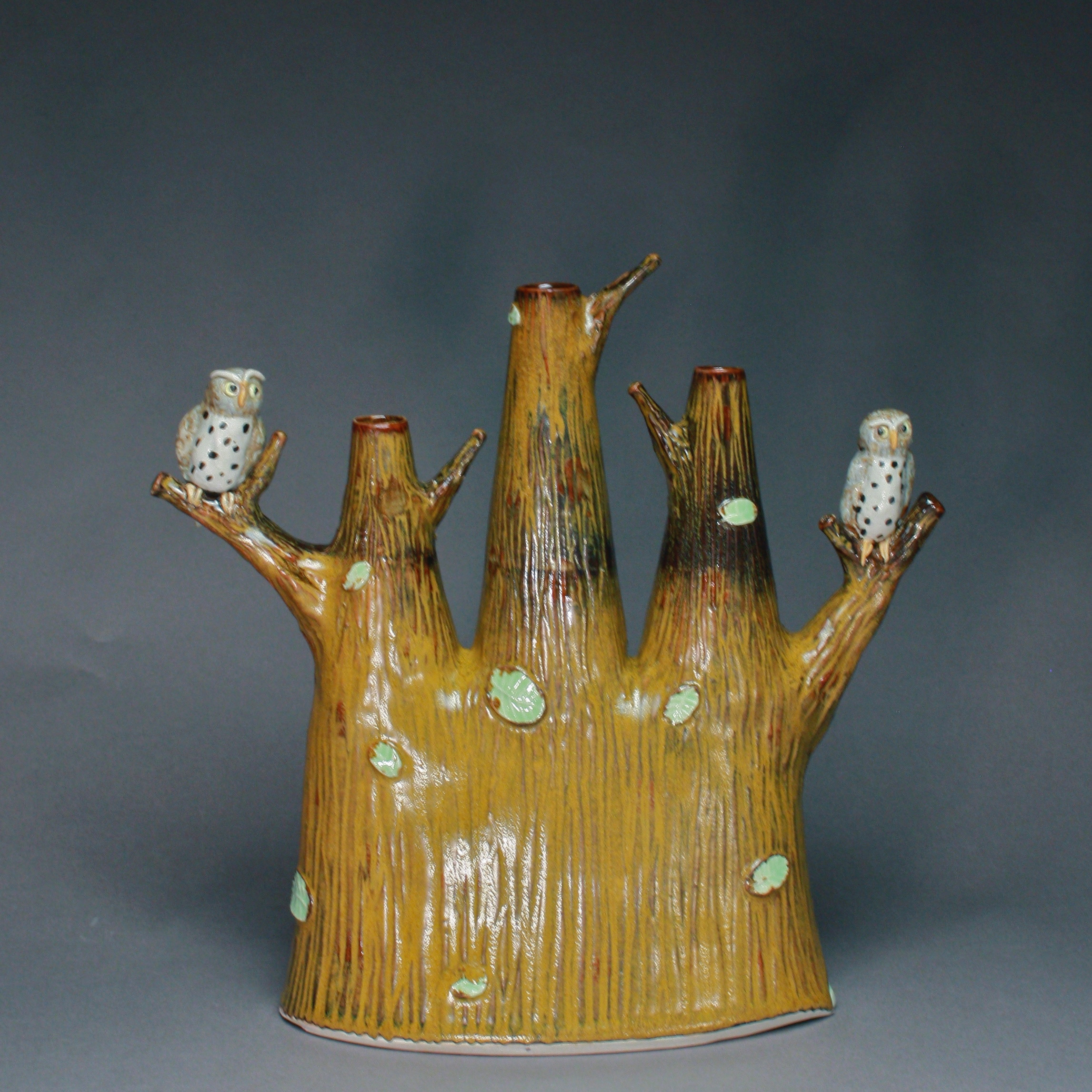 V-40 |  Golden Tenmoku Triple Bud Vase with Owls ($325)