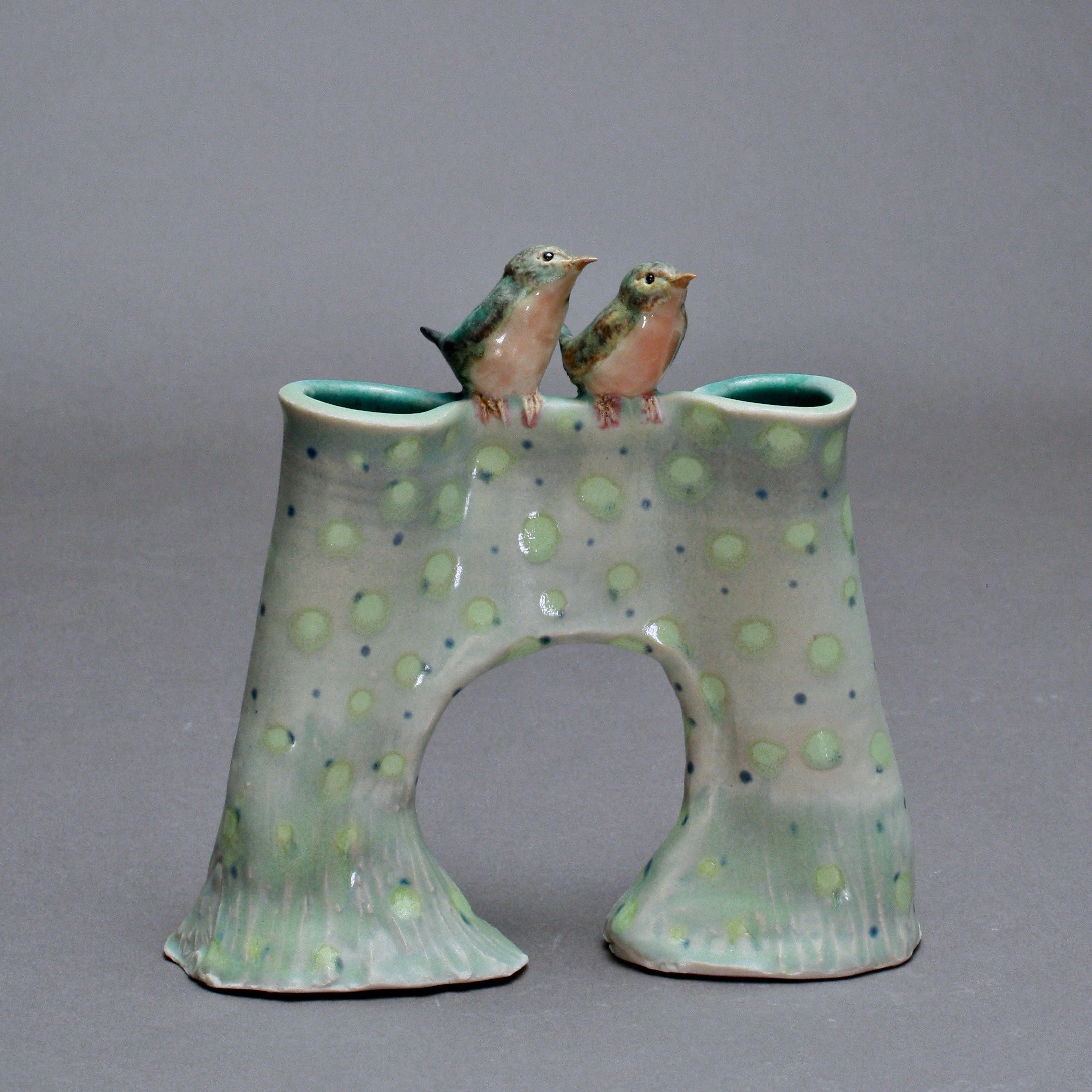 V-22 |  Dotted Celadon Bridge Vase with Robins ($225)