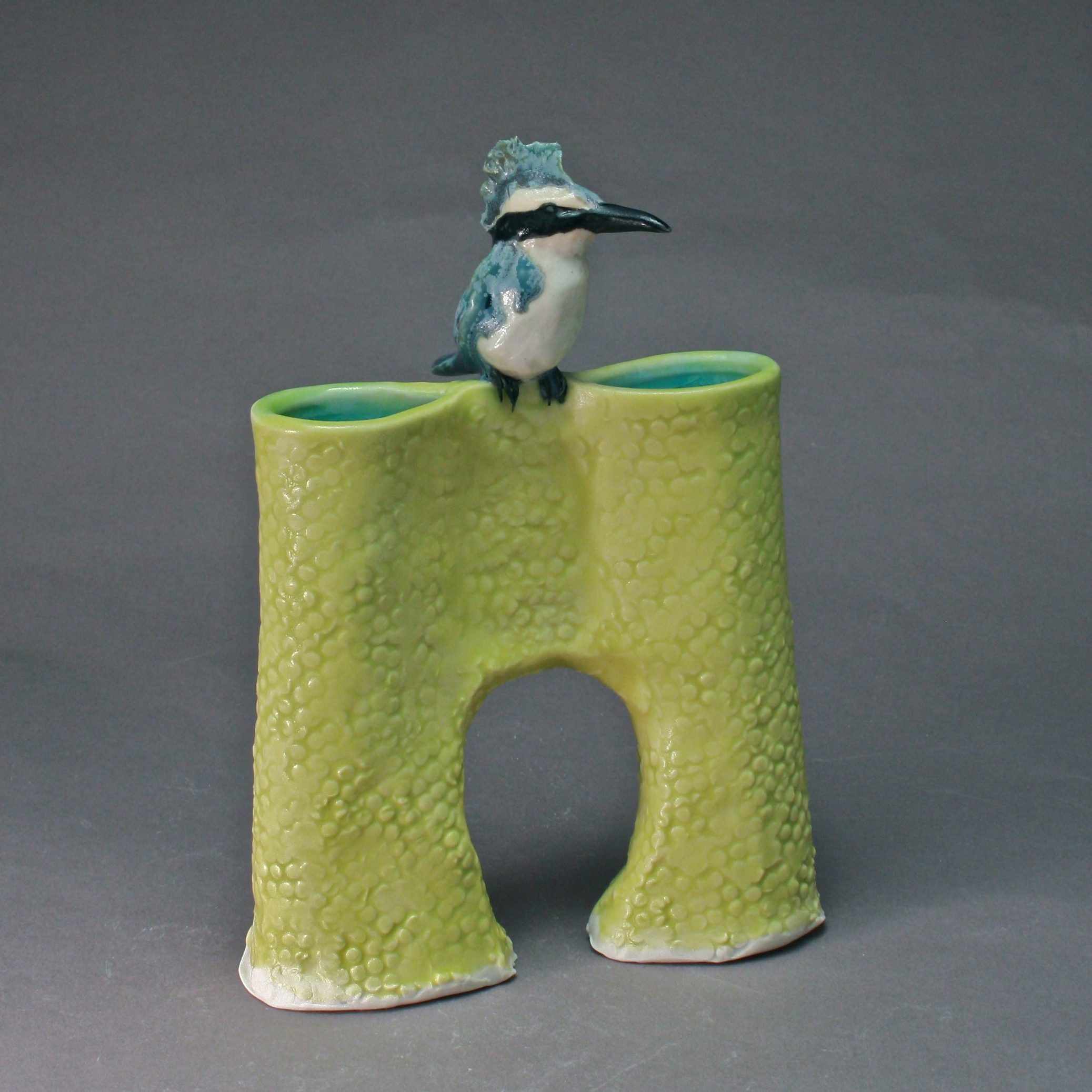 V-19 |  Yellow Bridge Vase with Blue Kingfisher ($185)
