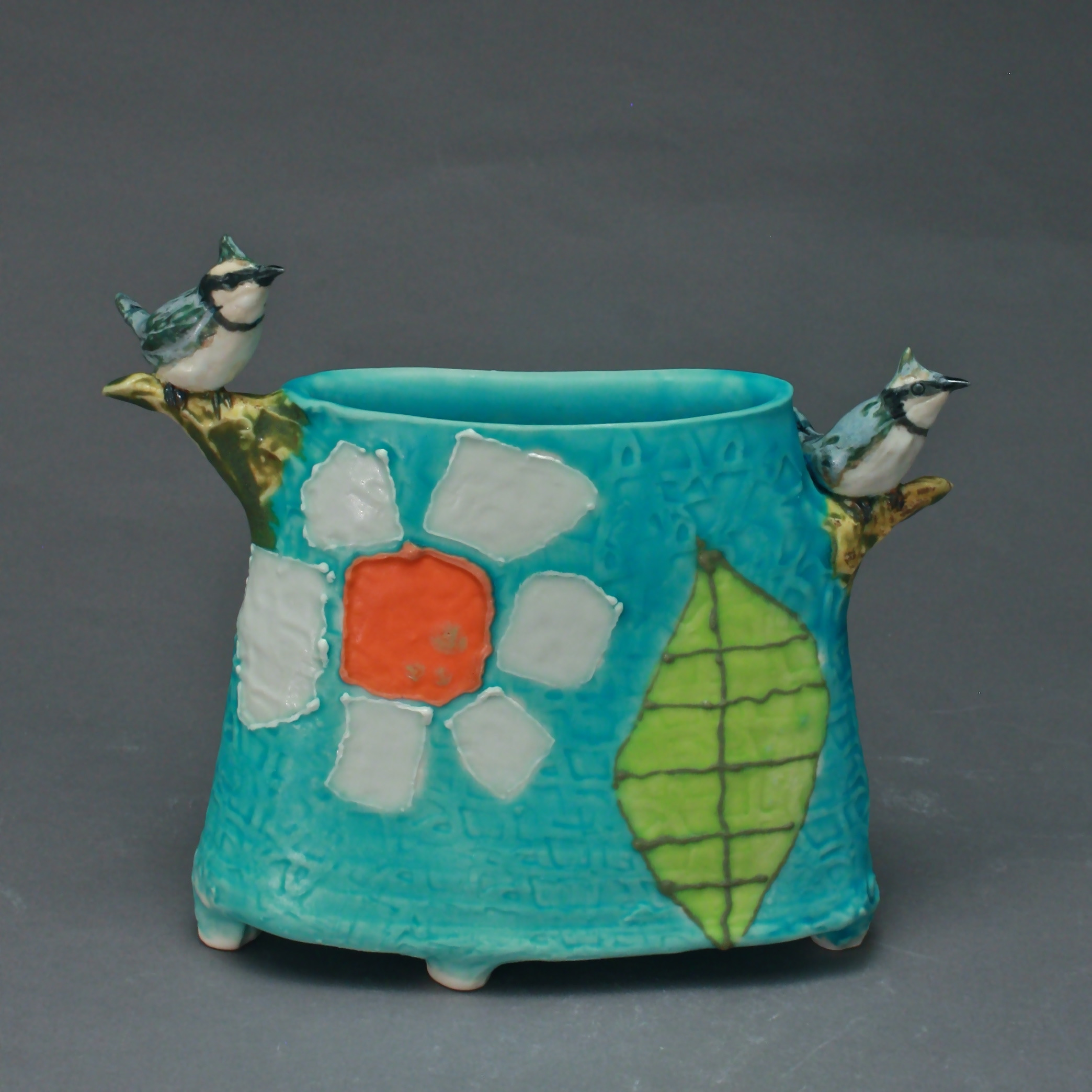 V-28 |  Blue Daisy Leaf Envelope Vase with Bluejays ($250)