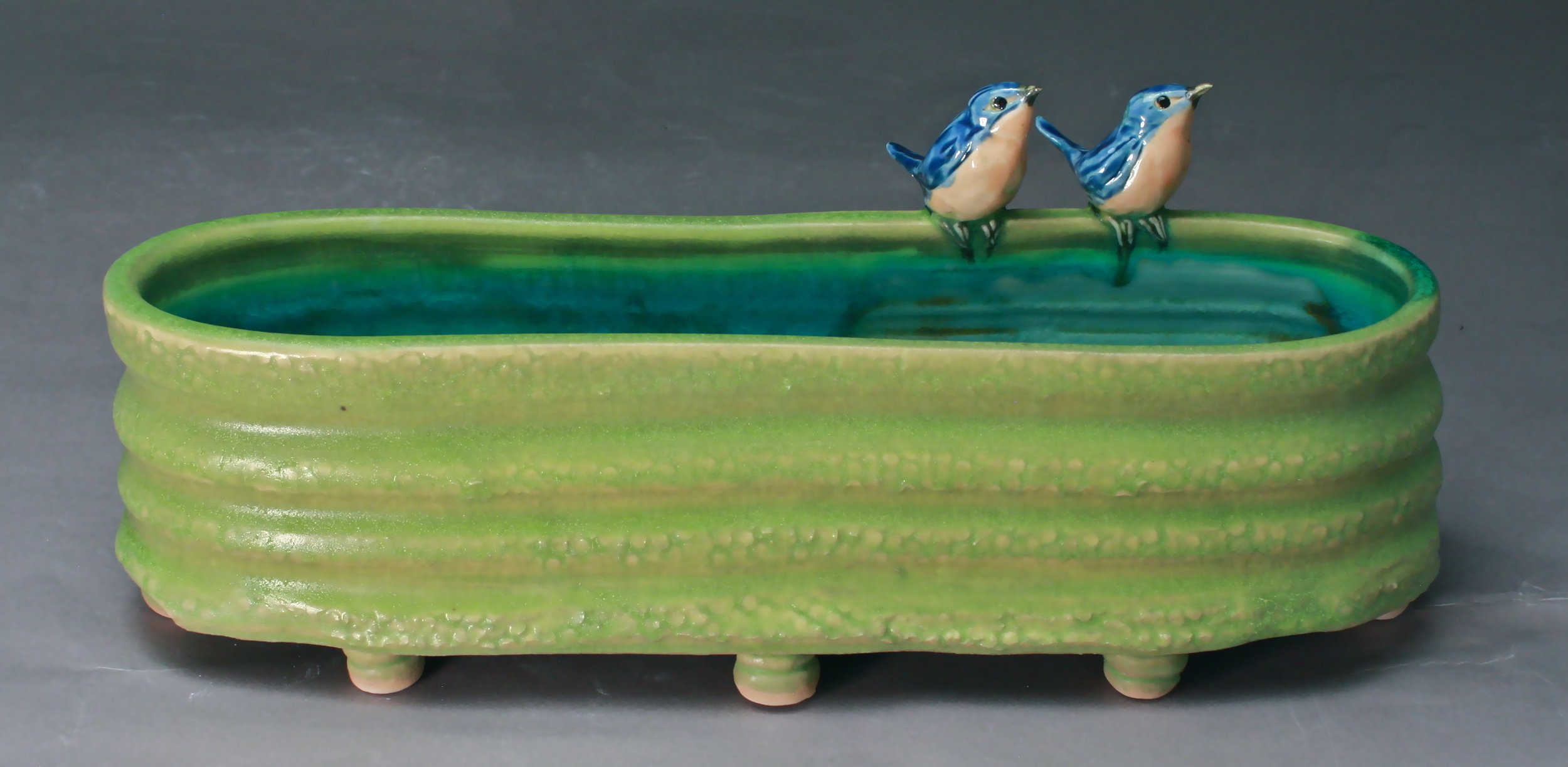 V-46 |  Chartreuse Footed Basin with Bluebirds ($325)