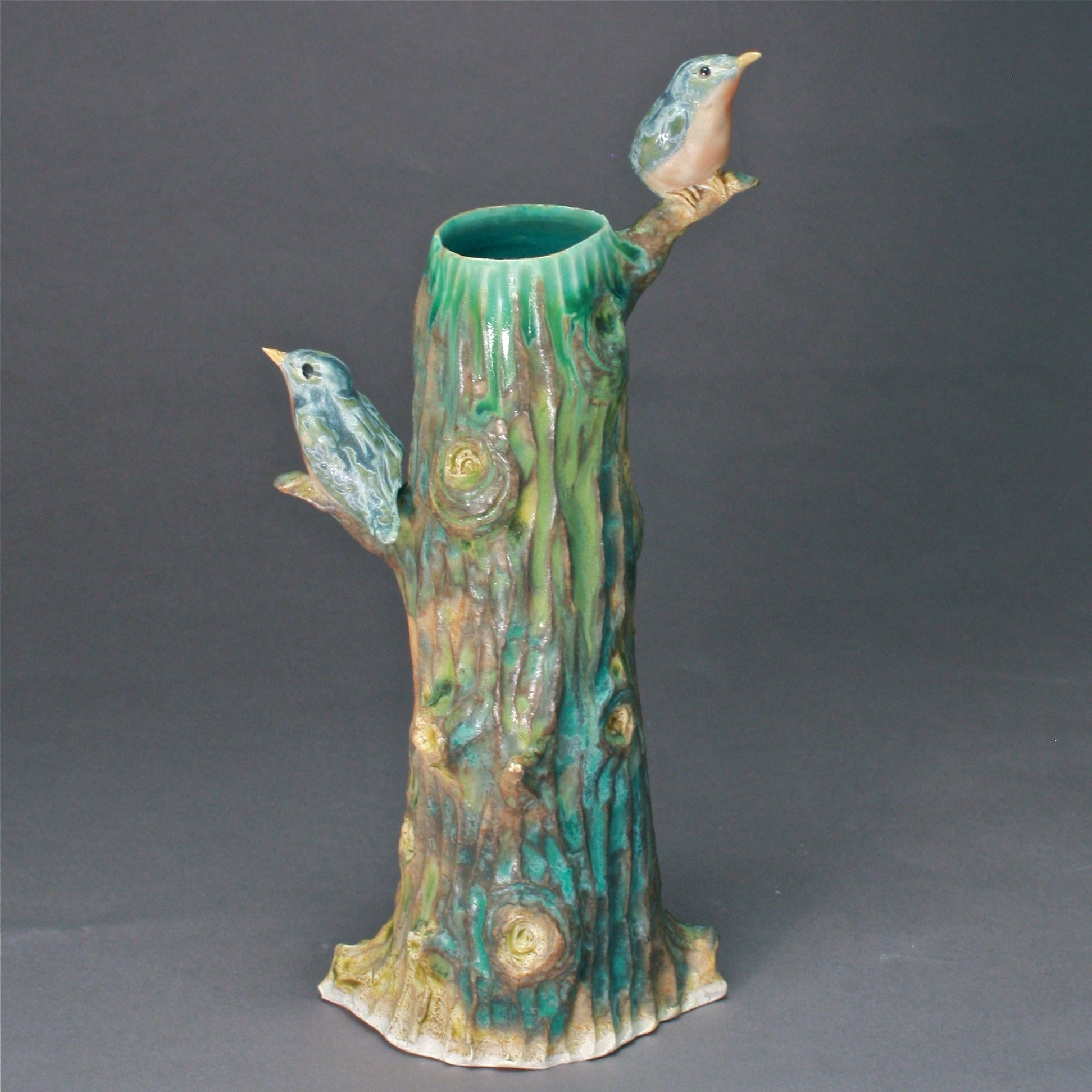 V-09 |  Tall Tree Vase with Bluebirds ($185)