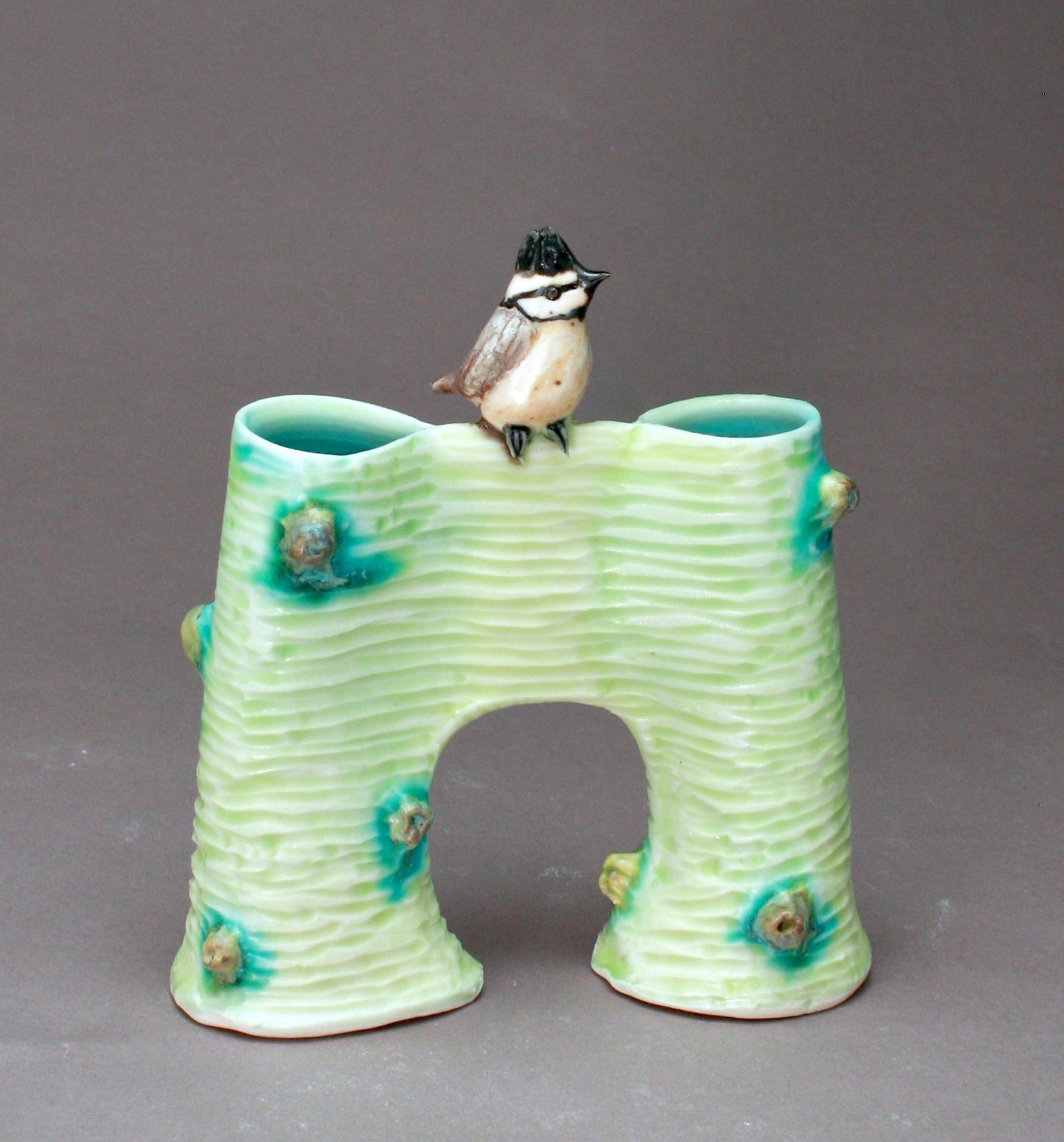V-24 |  Bridge Vase with Tufted Titmouse ($185)