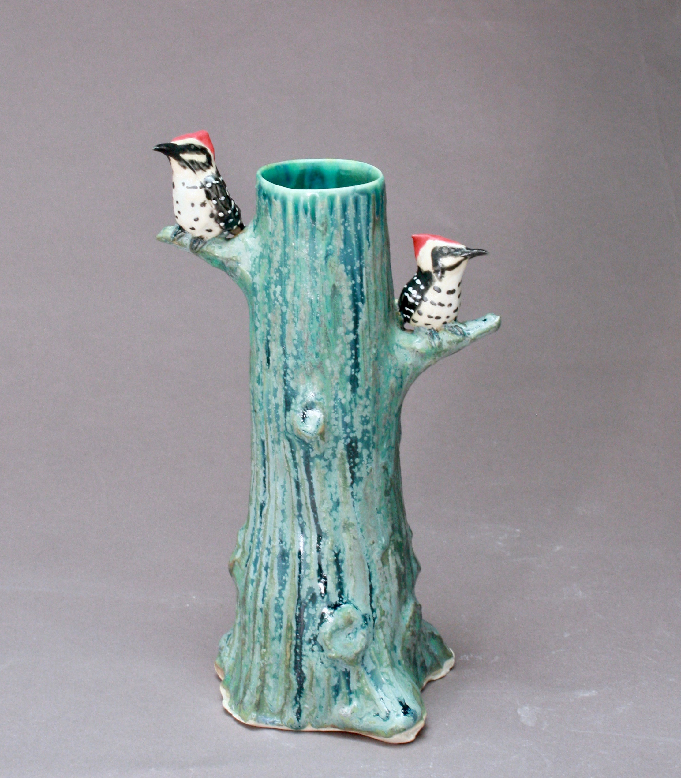 V-10 |  Tall Tree Vase with Woodpeckers ($185)