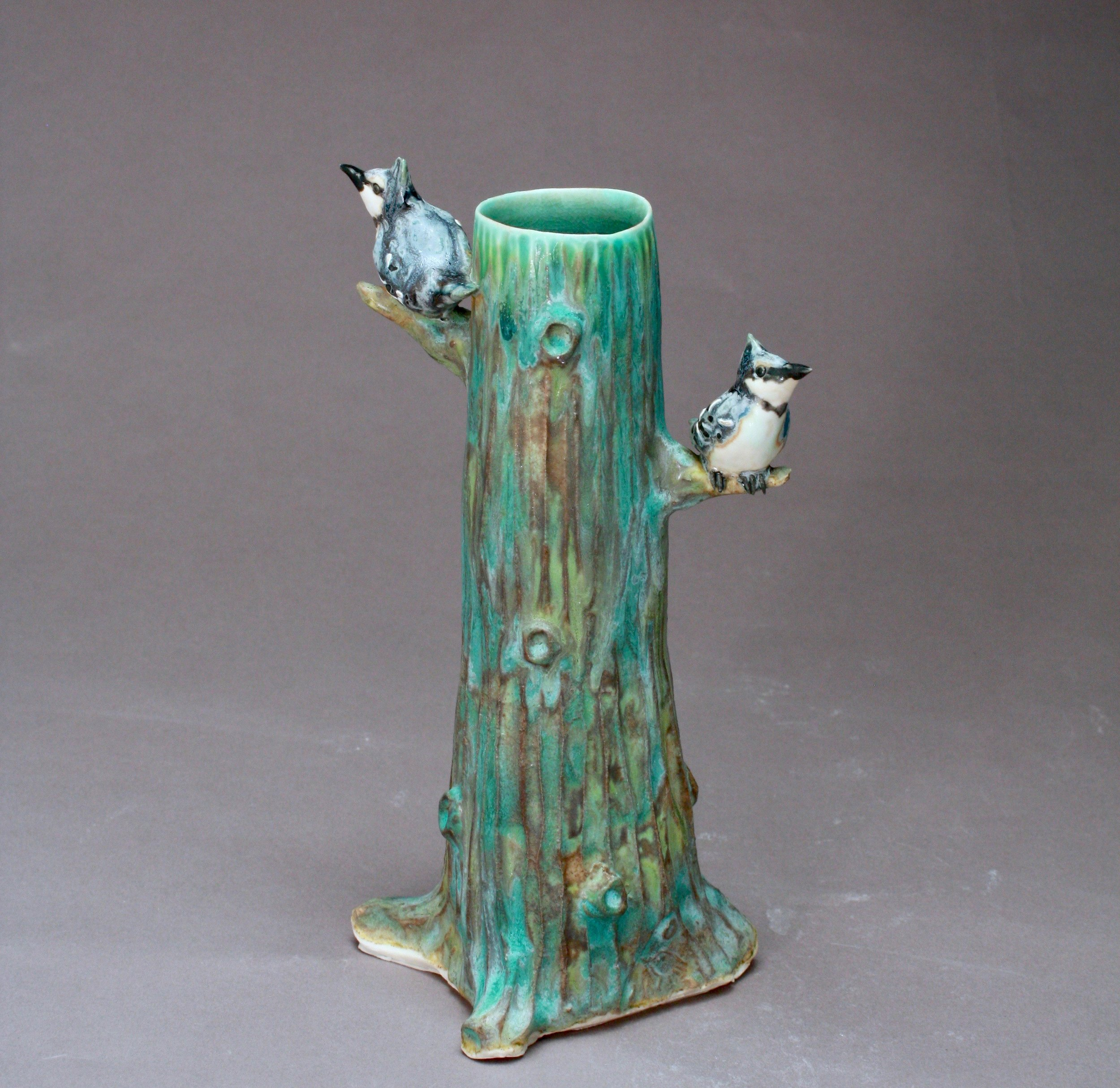 V-08 |  Tall Tree Vase with Bluejays ($185)