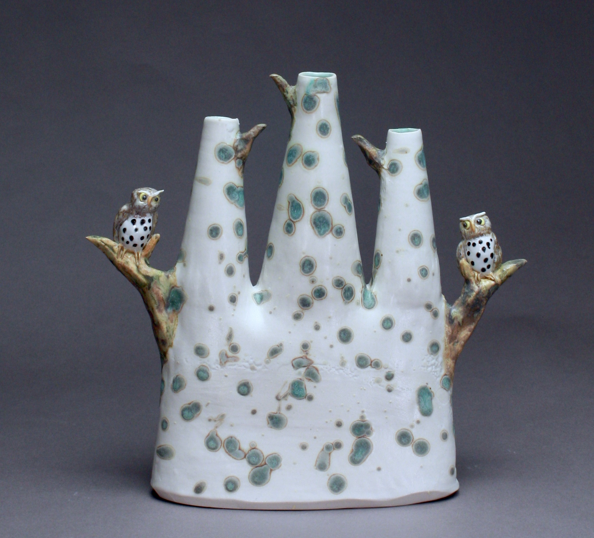 V-34 |  Matte White Dotted Triple Bud Vase with Owls ($325)