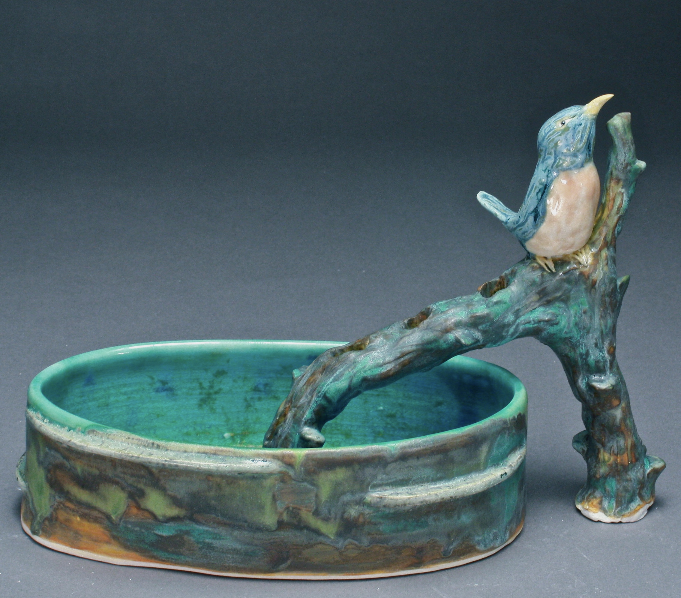 FF-05   Branch Flower Frog and Basin with Bluebird ($250)