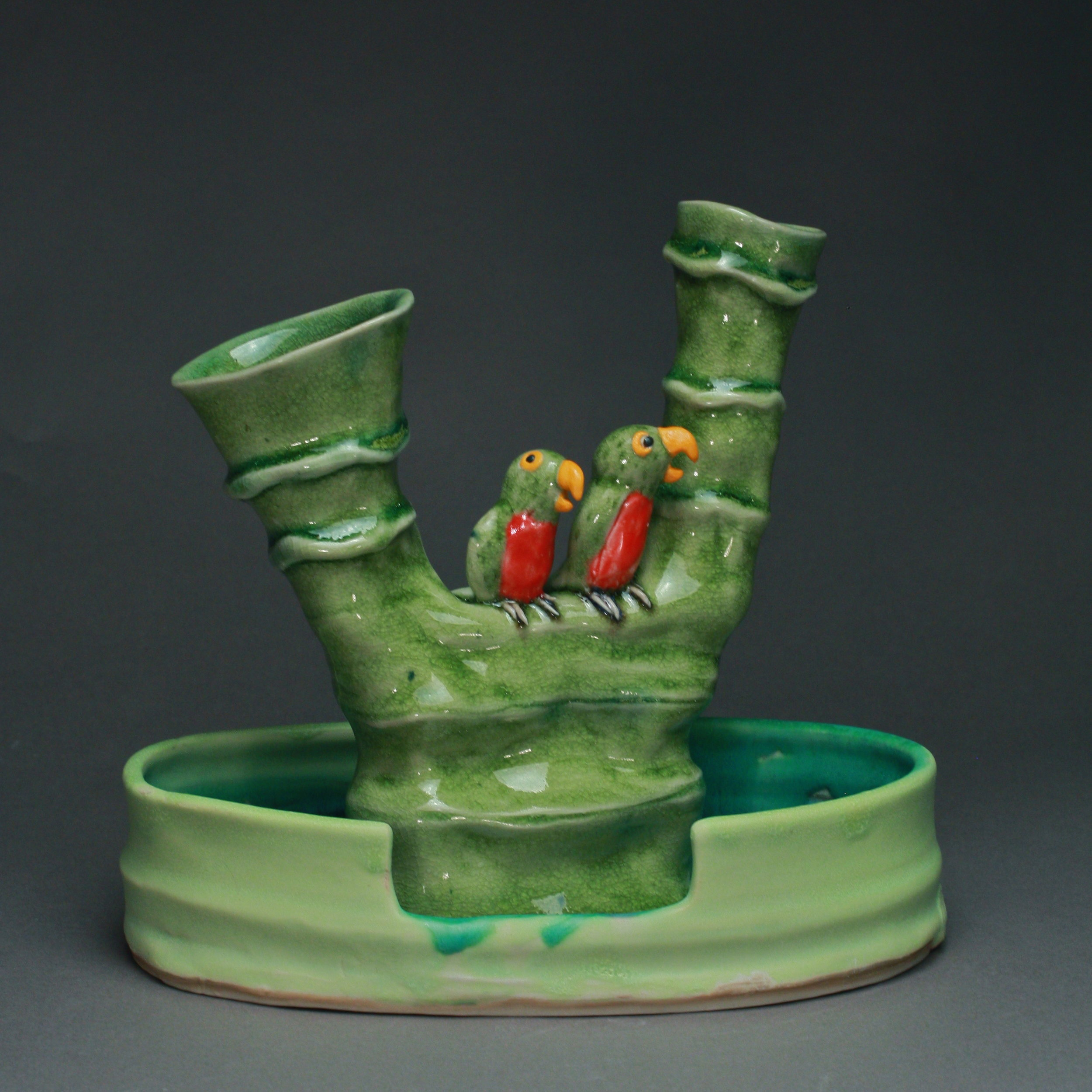 FF-12   Tree Flower Frog and Basin with Parrots ($250)
