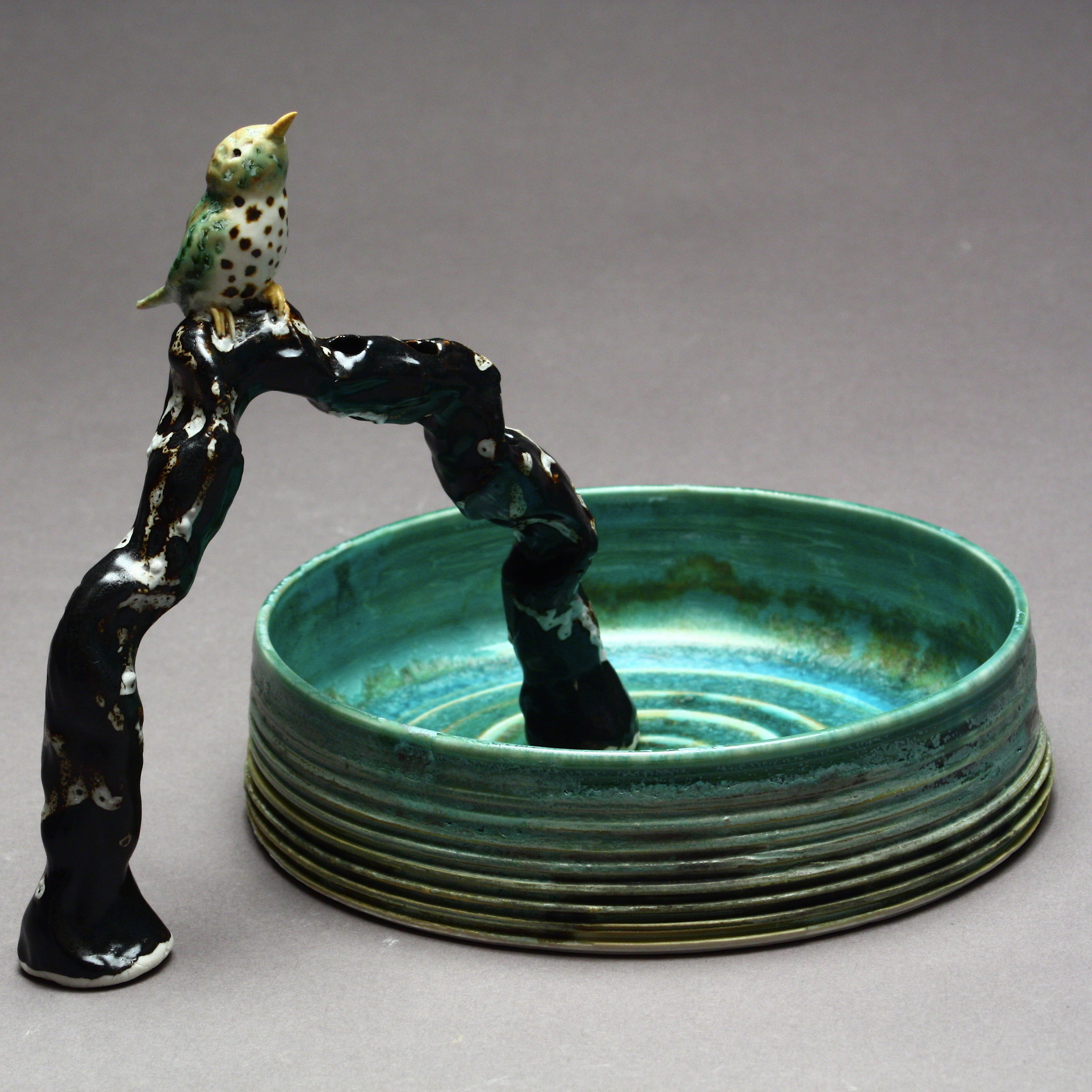 FF-06 | Branch Flower Frog and Basin with Thrush ($175)