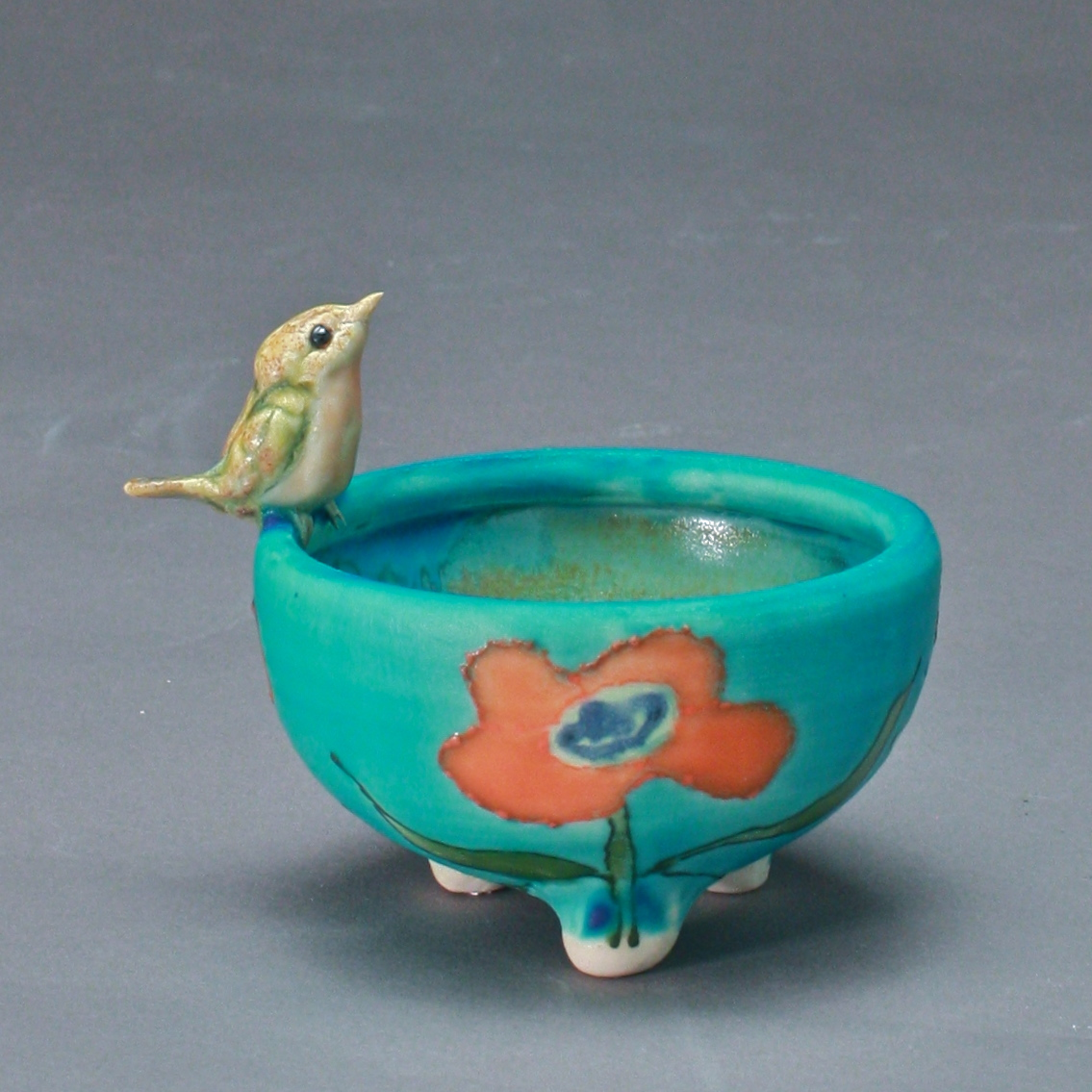 SC-08 |  Coral Flowered Turquoise Salt Cellar with Robin ($95)