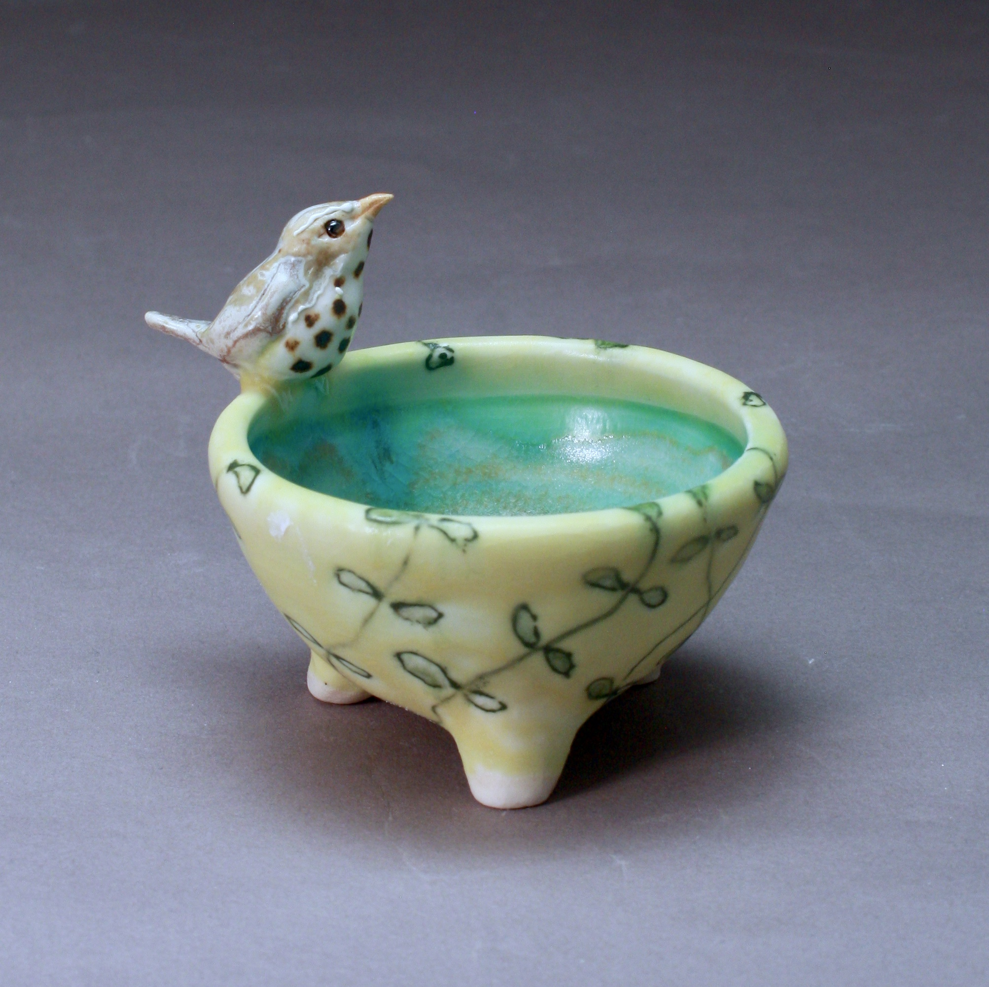 SC-12 |  Pale Yellow Salt Cellar with Vines and Thrush ($95)