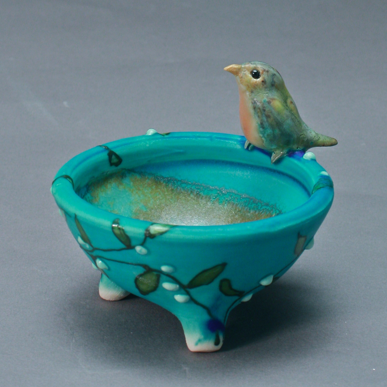 SC-11 | Turquoise Salt Cellar with White Berry Vine and  Robin ($95)