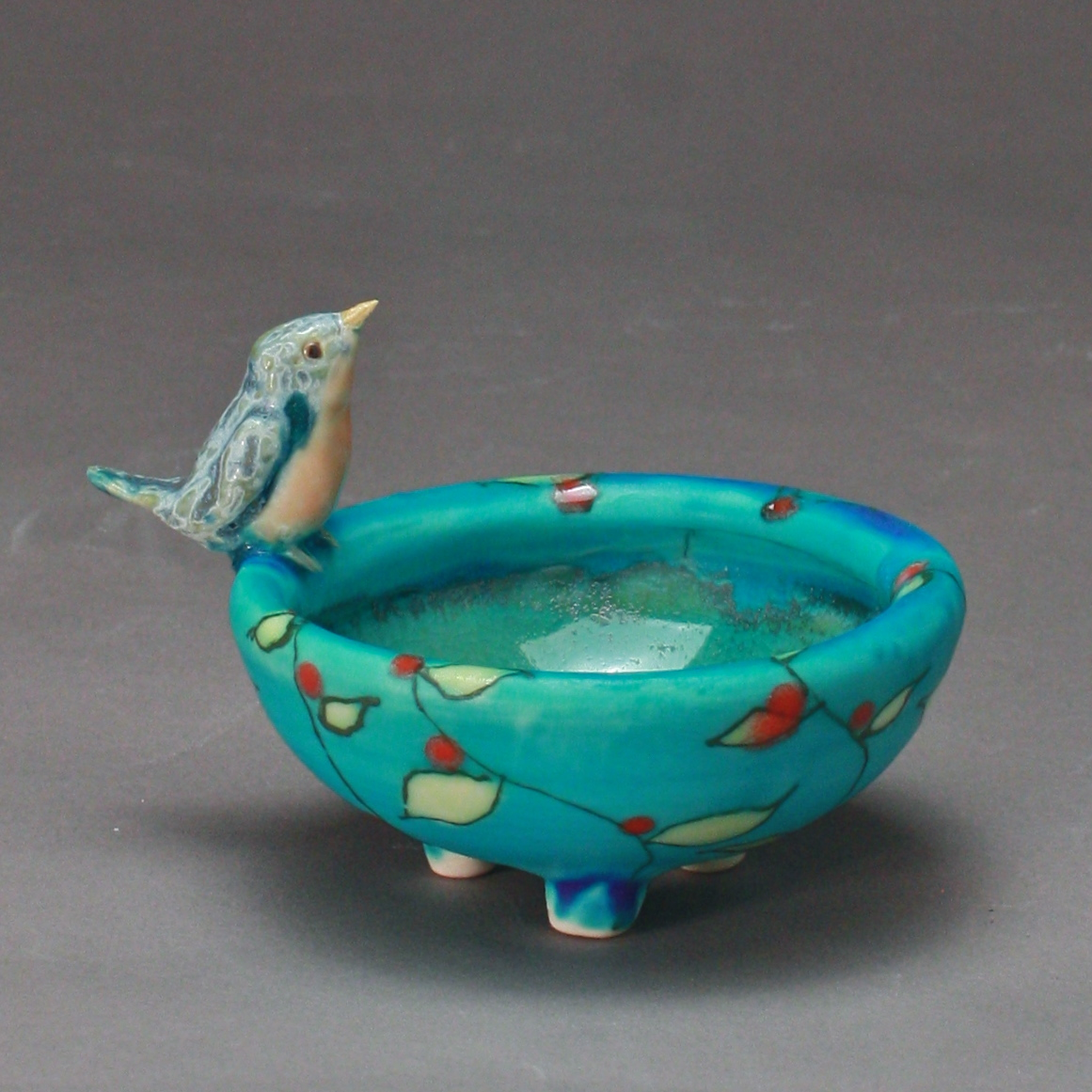 SC-13 | Turquoise Salt Cellar with Vines and Bluebird ($95)