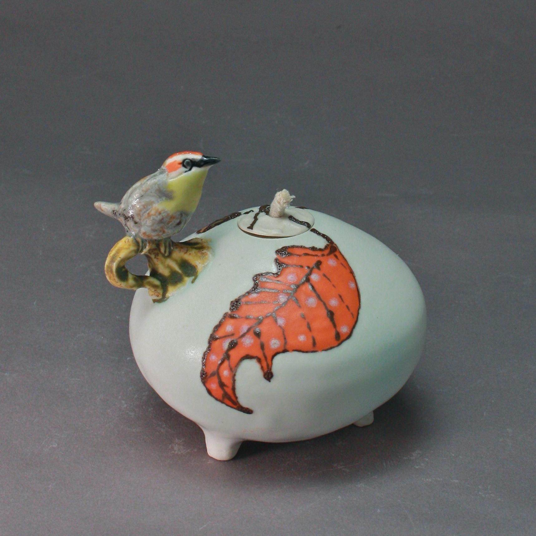 OL-14 | Orange Leaf White  Oil Lamp with Orange Crowned Warbler ($150)