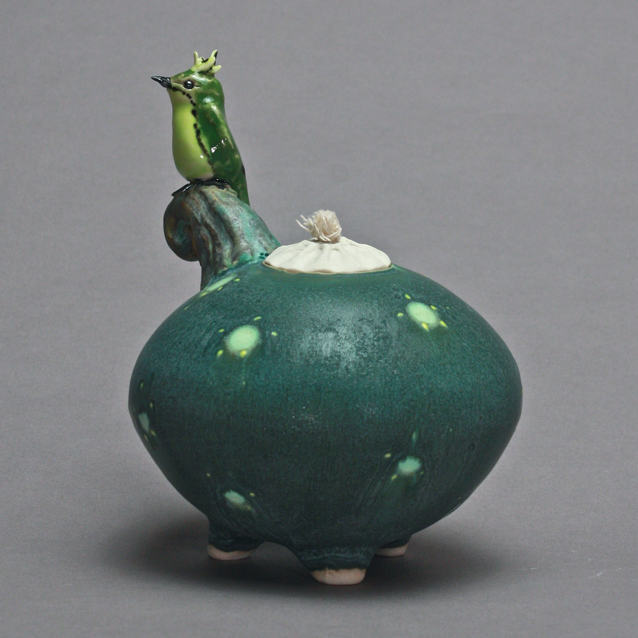 OL-16 | Spotted Dark Green Oil Lamp with Bulbul ($150)