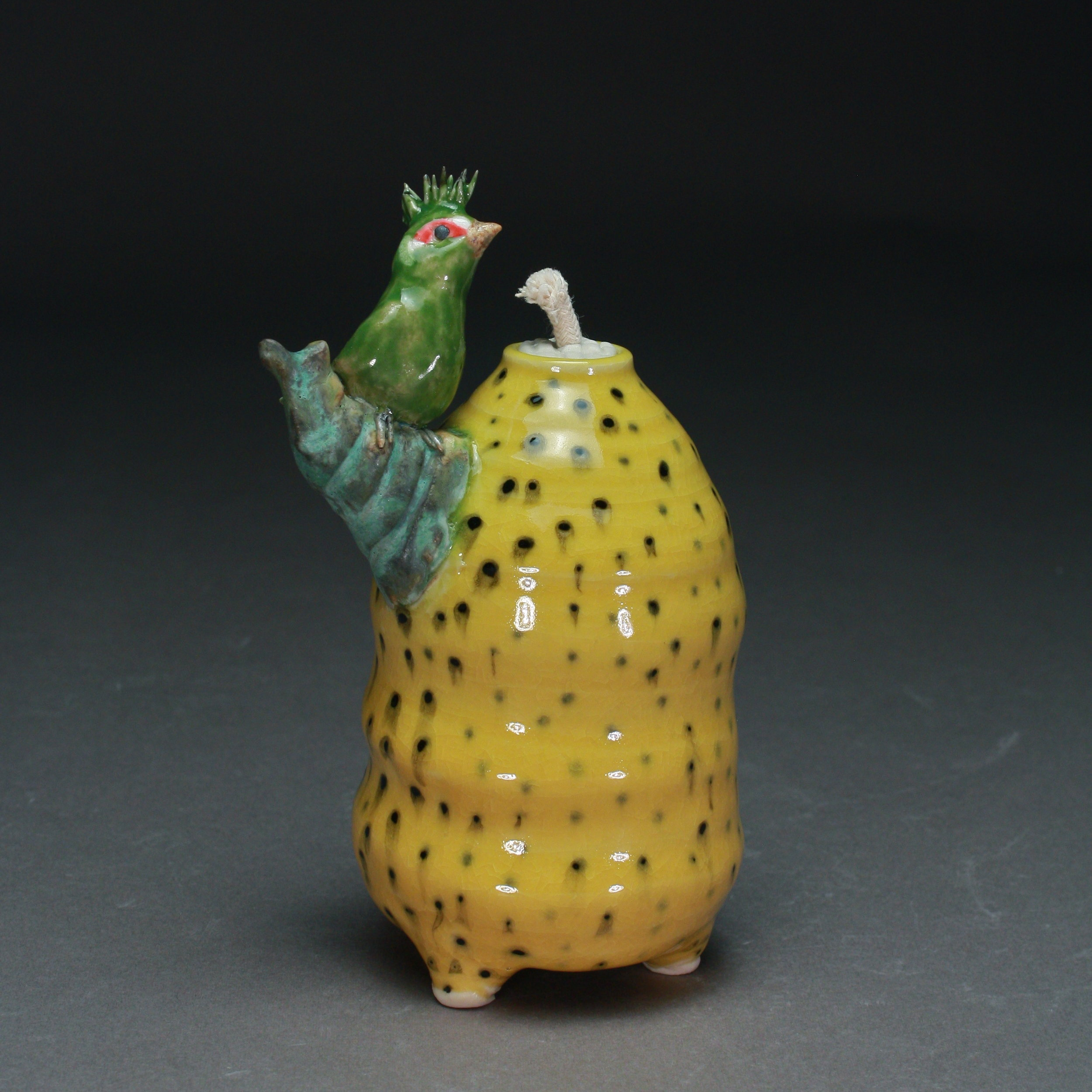 OL-17 | Yellow Dotted Oil Lamp with Curaco  ($150)