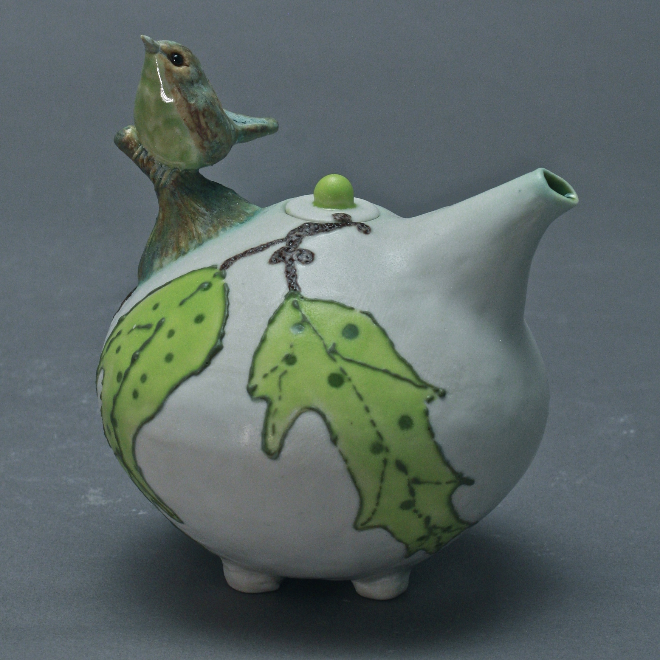 OC-01 | Matte White  Oil Cruet with Green Leaves and Flycatcher ($160)