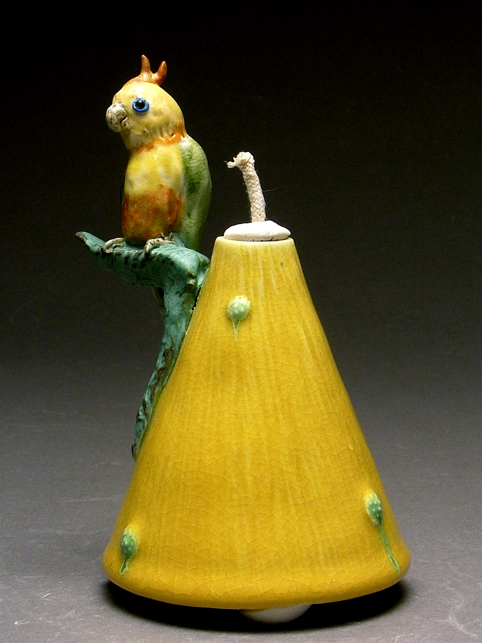 OL-01 | Yellow Oil Lamp with Parrot ($150)
