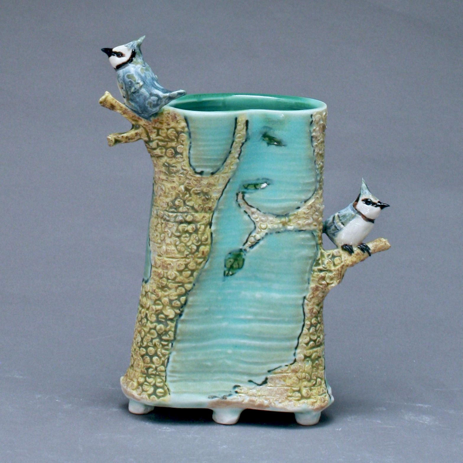 V-25 | Blue Envelope Vase with Trees and Bluejays ($250)