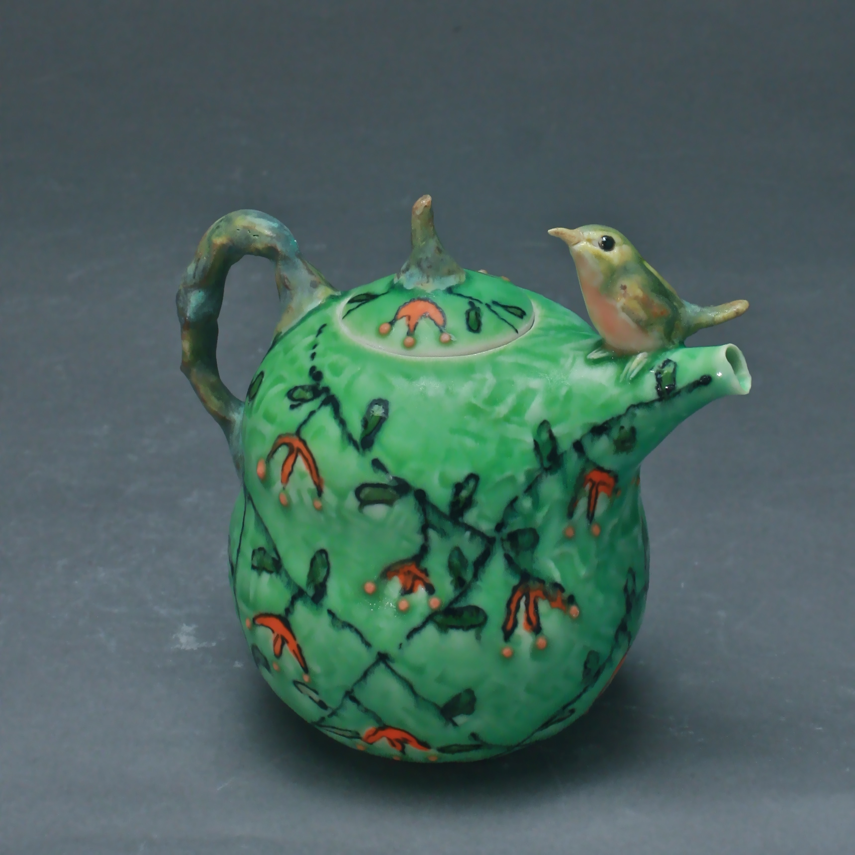 T-25  | Green Flowering Vine Teapot with Robin ($295)
