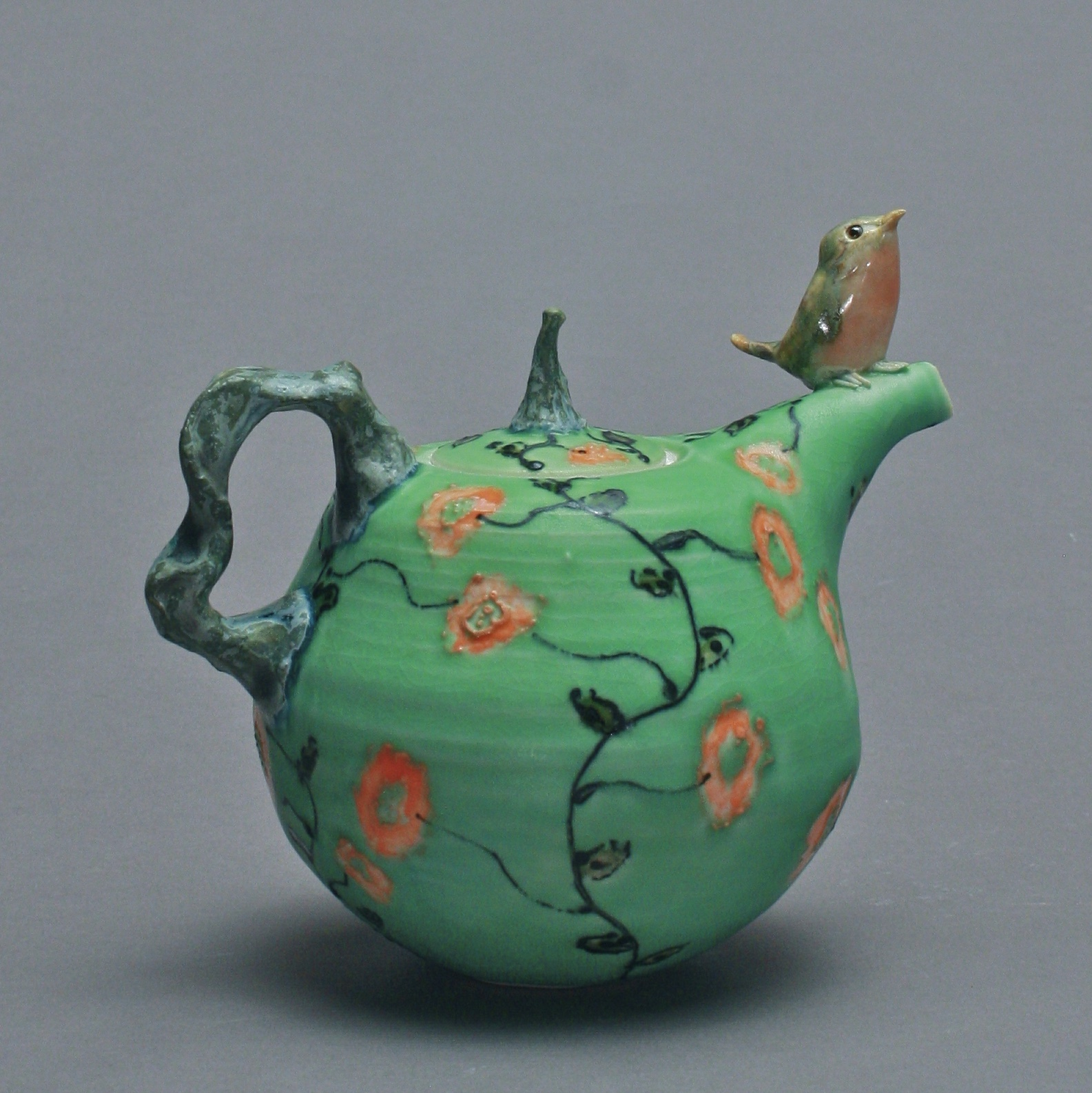 T-03 | Green Flowered Teapot with Robin ($295)