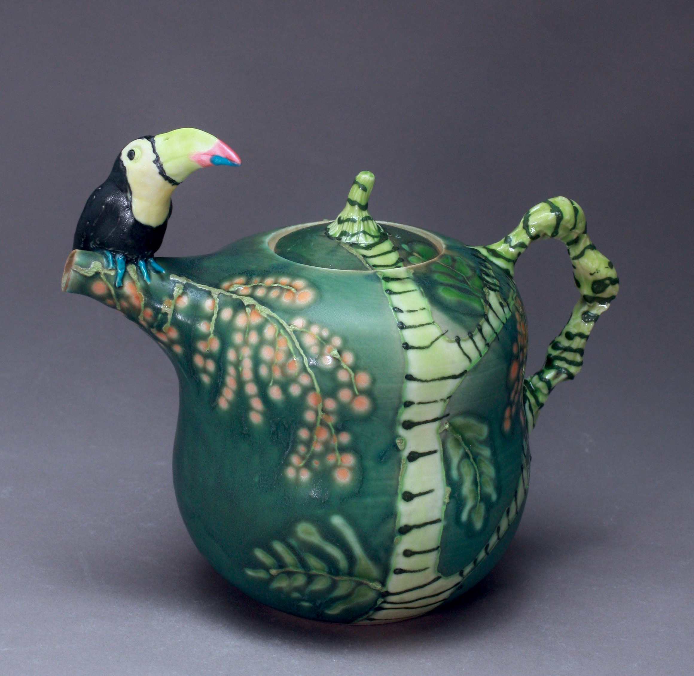 T-34 | Dark green Teapot with Toucan ($295)