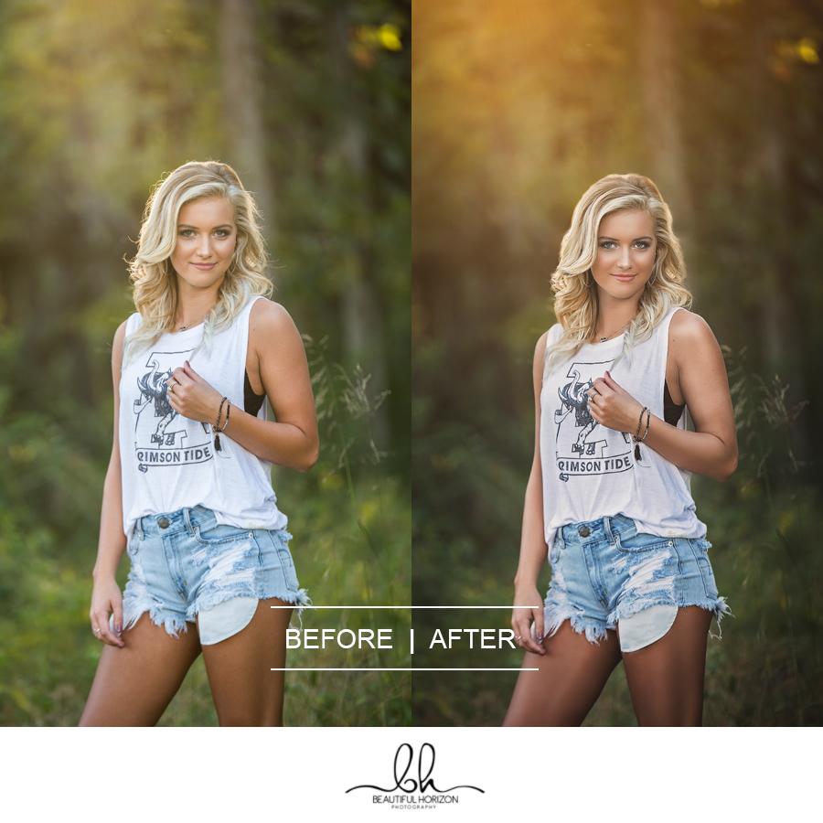 Photo Editing Before and After. ©Beautiful Horizon Photography. Tuscaloosa Portrait Photographer.