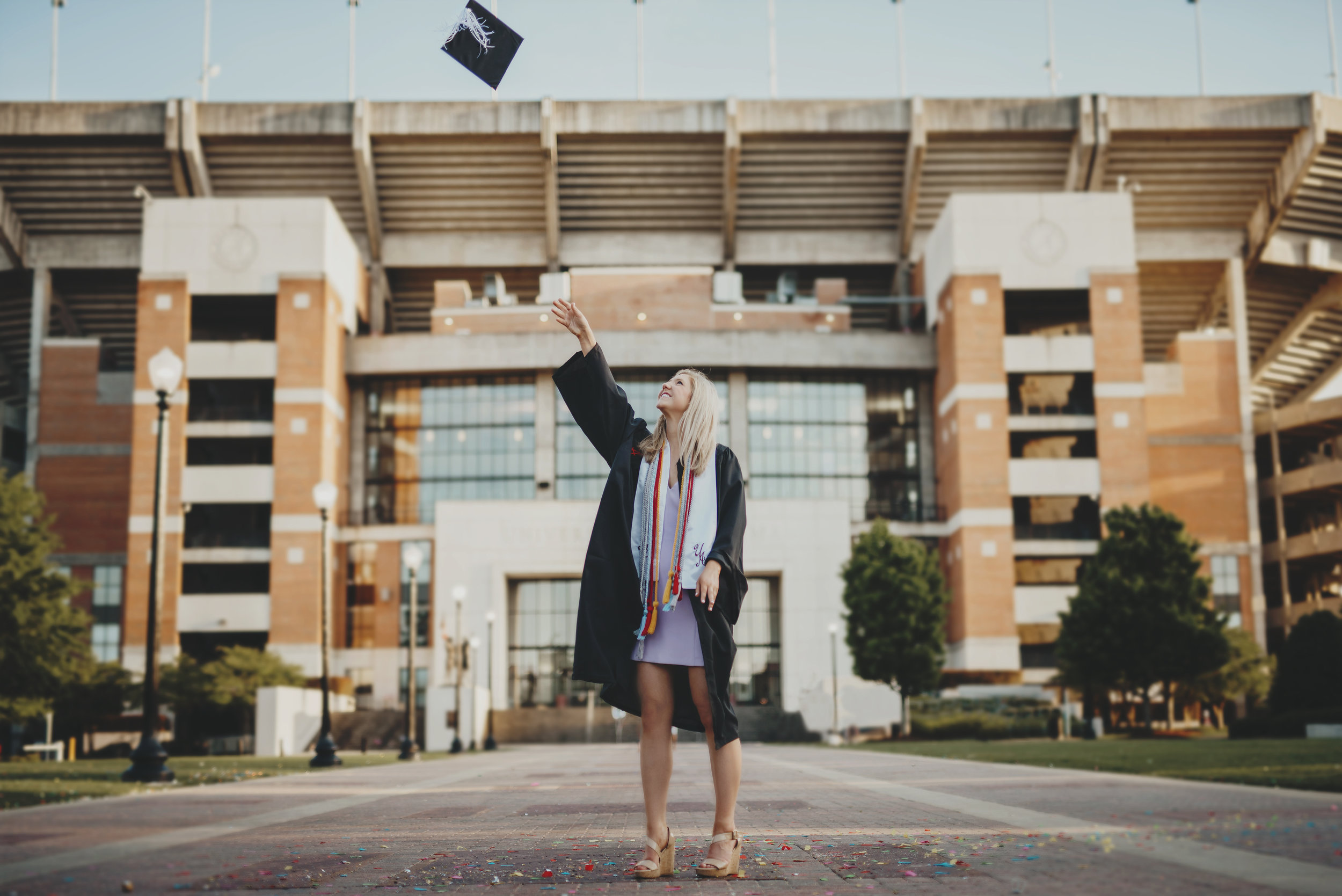© Beautiful Horizon Photography. Tuscaloosa AL Photographer.  University of Alabama Graduation Portraits at Bryant Denny Stadium.