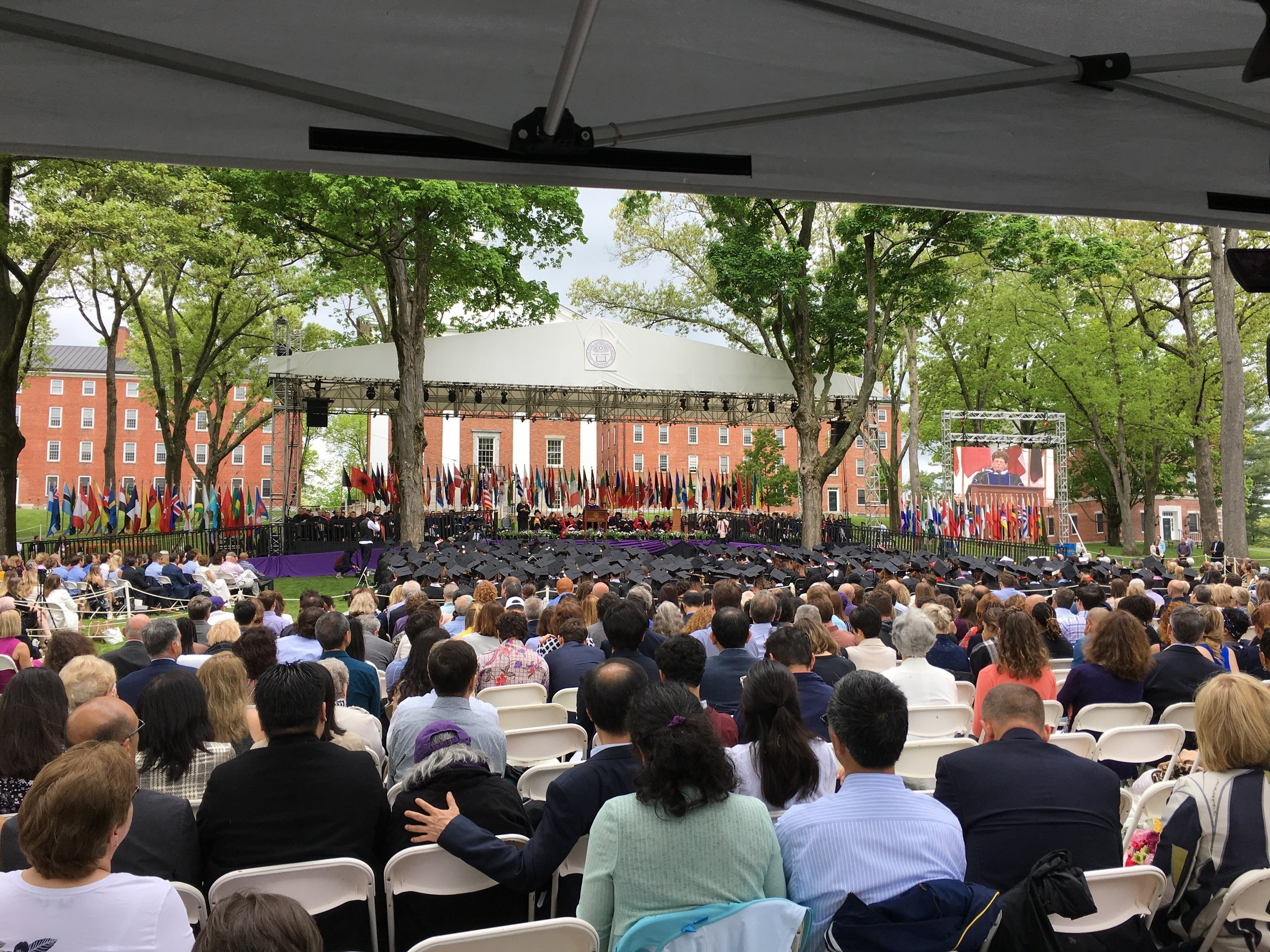 Flown L'acoustic dV-dosc at the Amherst College Commencement.