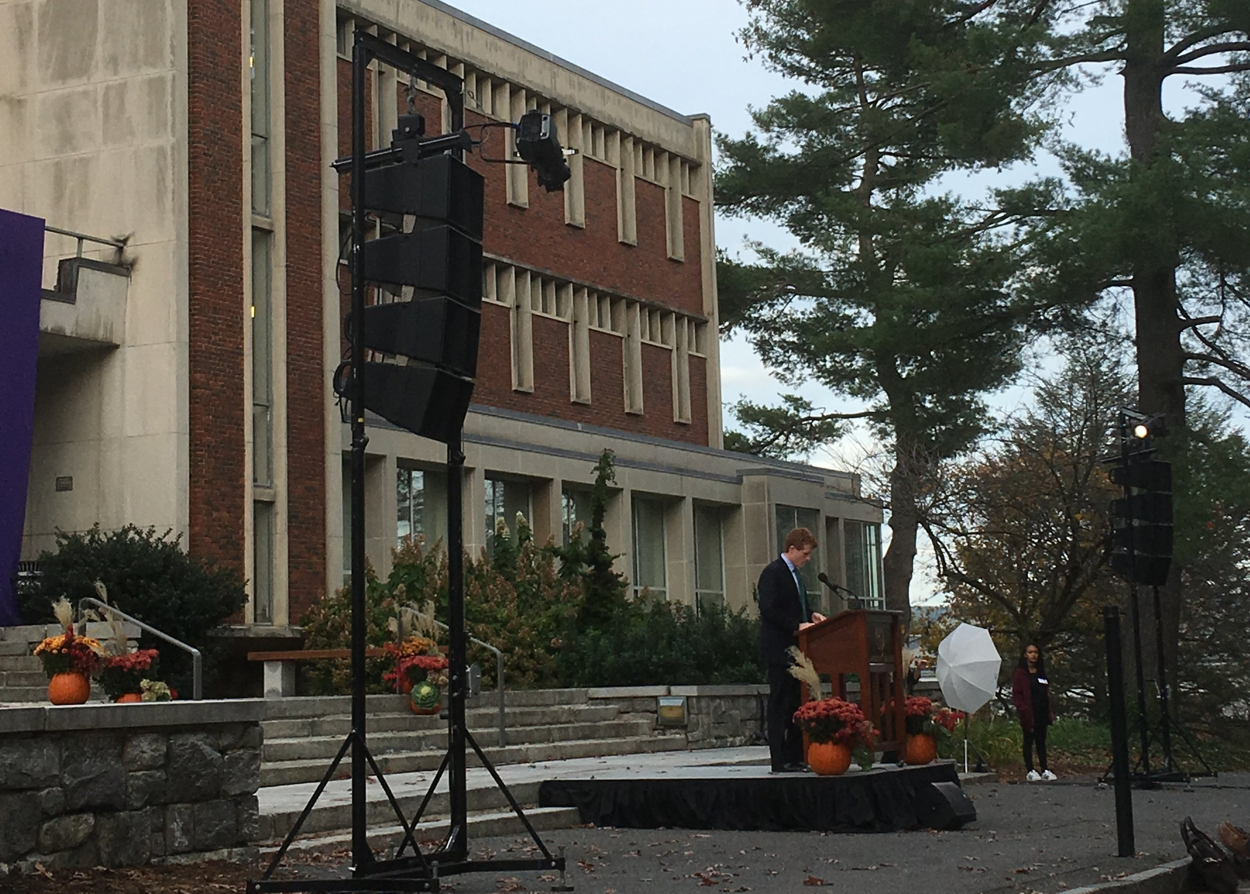 Rep. Joe Kennedy speaking in front of Frost Library at Amherst College.
