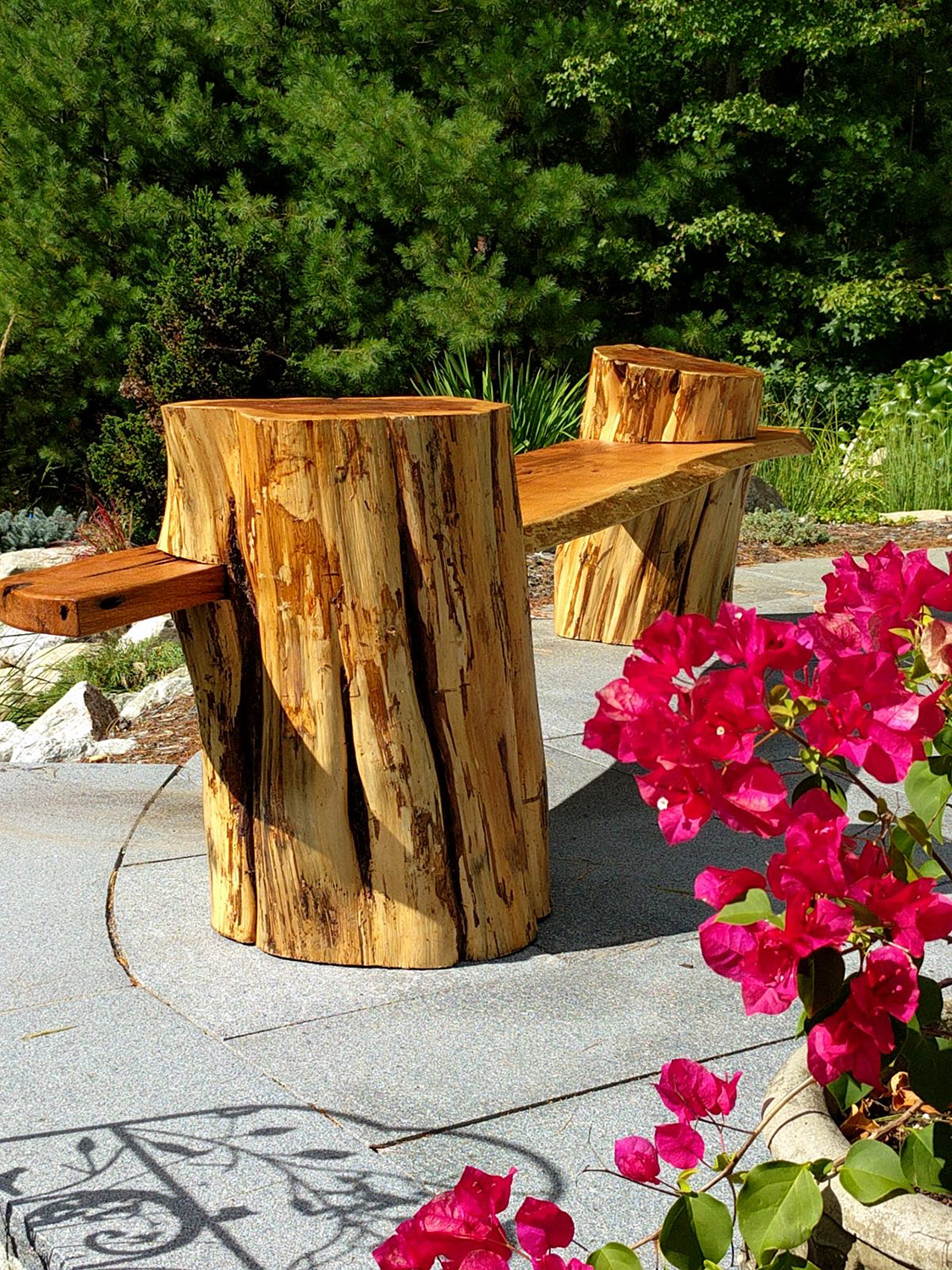 custom oak and cedar bench overlook koi pond
