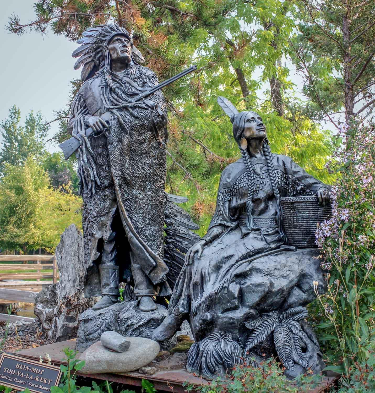 Nez Perce bronze sculptures in Joseph, Oregon - Photo by Ron Huckins