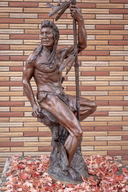 Nez Perce Warrior bronze sculpture at the post office - Joseph, Oregon - Photo by Ron Huckins