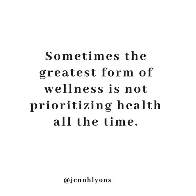"""Sometimes the greatest form of wellness is not prioritizing health all the time.  Living a well life is so much more than just the food you eat. It is feeling emotionally well, it's being present with loved ones, it's saying yes to new adventures, which includes not letting thoughts of food and your body stop you from living this well life.  Sometimes enjoying an ice cream with friends over eating """"healthy"""" alone can be the best thing you can do for your well being♥️"""