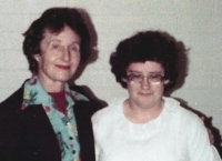Senior missionary, Sister Nelson, with Mandy on her baptism day.